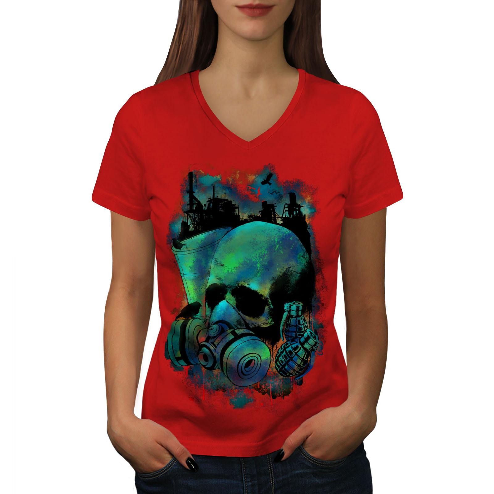 Grenade-GUERRA-GAS-Teschio-Donne-V-Neck-T-shirt-Nuove-wellcoda
