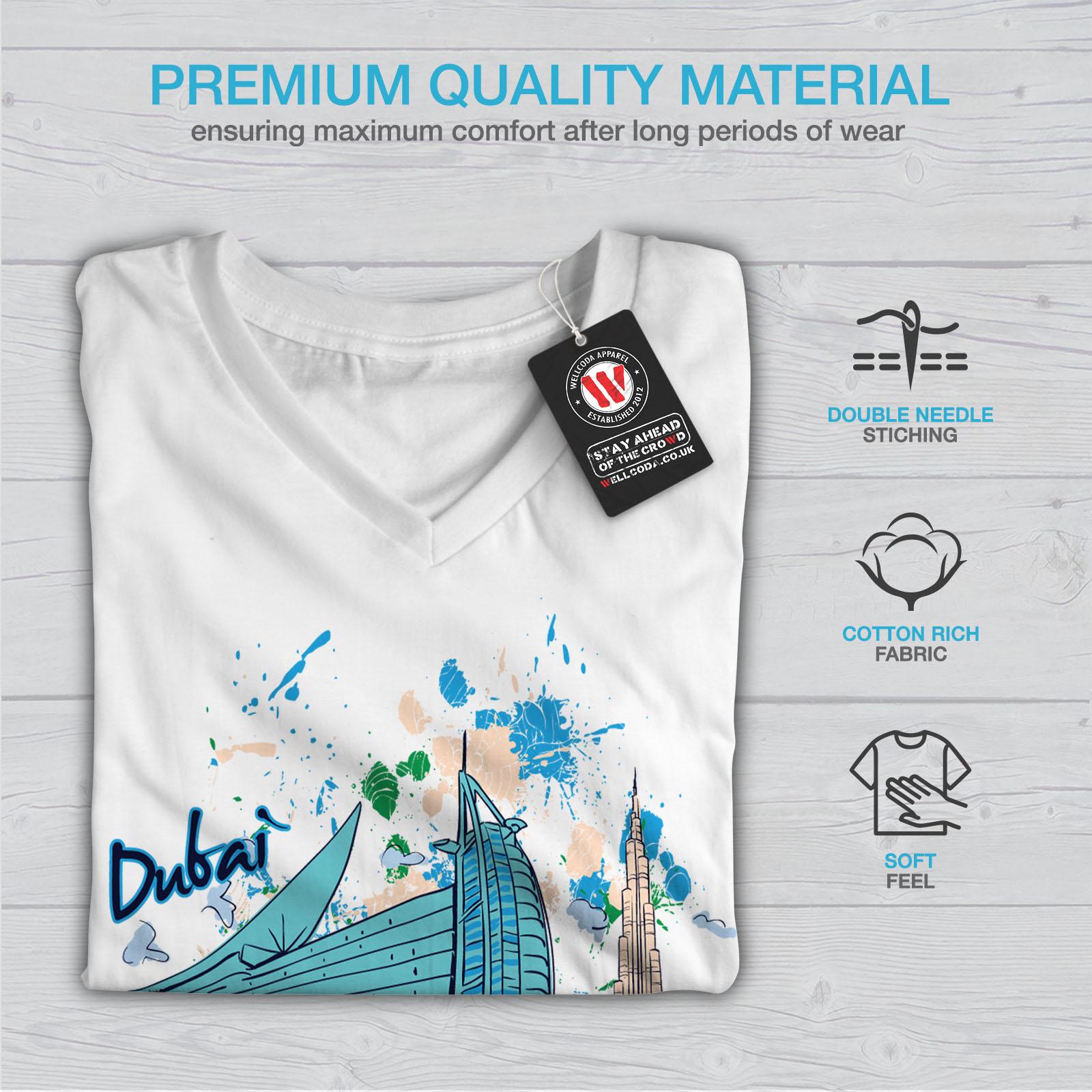 Wellcoda-Dubai-Womens-V-Neck-T-shirt-United-Arab-Graphic-Design-Tee thumbnail 9