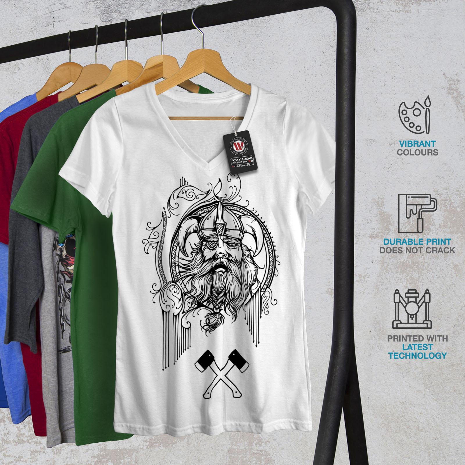 Wellcoda-North-Face-Guerrier-Femme-T-Shirt-col-V-Bataille-de-conception-graphique-Tee miniature 8