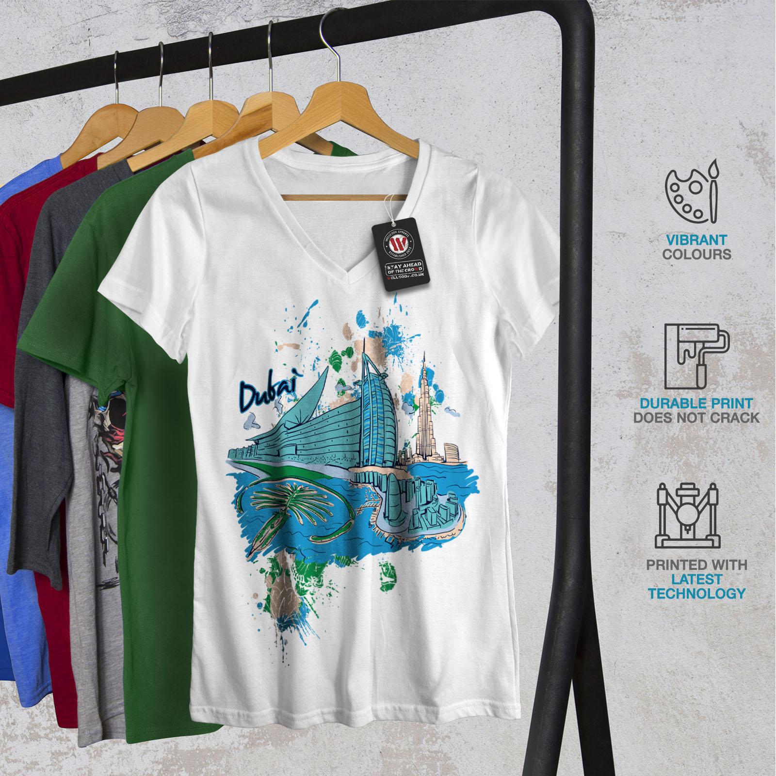Wellcoda-Dubai-Womens-V-Neck-T-shirt-United-Arab-Graphic-Design-Tee thumbnail 8