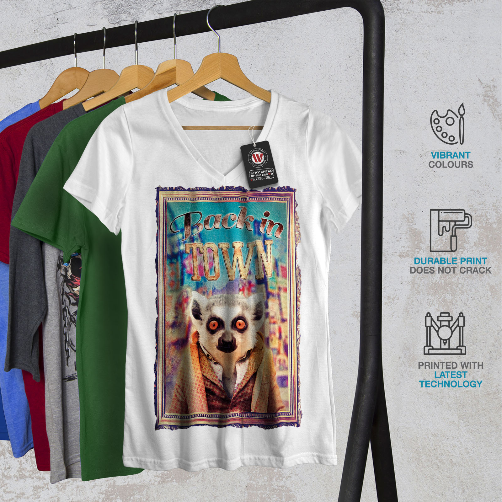 Wellcoda-Back-In-Town-Joke-Womens-V-Neck-T-shirt-Monkey-Graphic-Design-Tee thumbnail 8