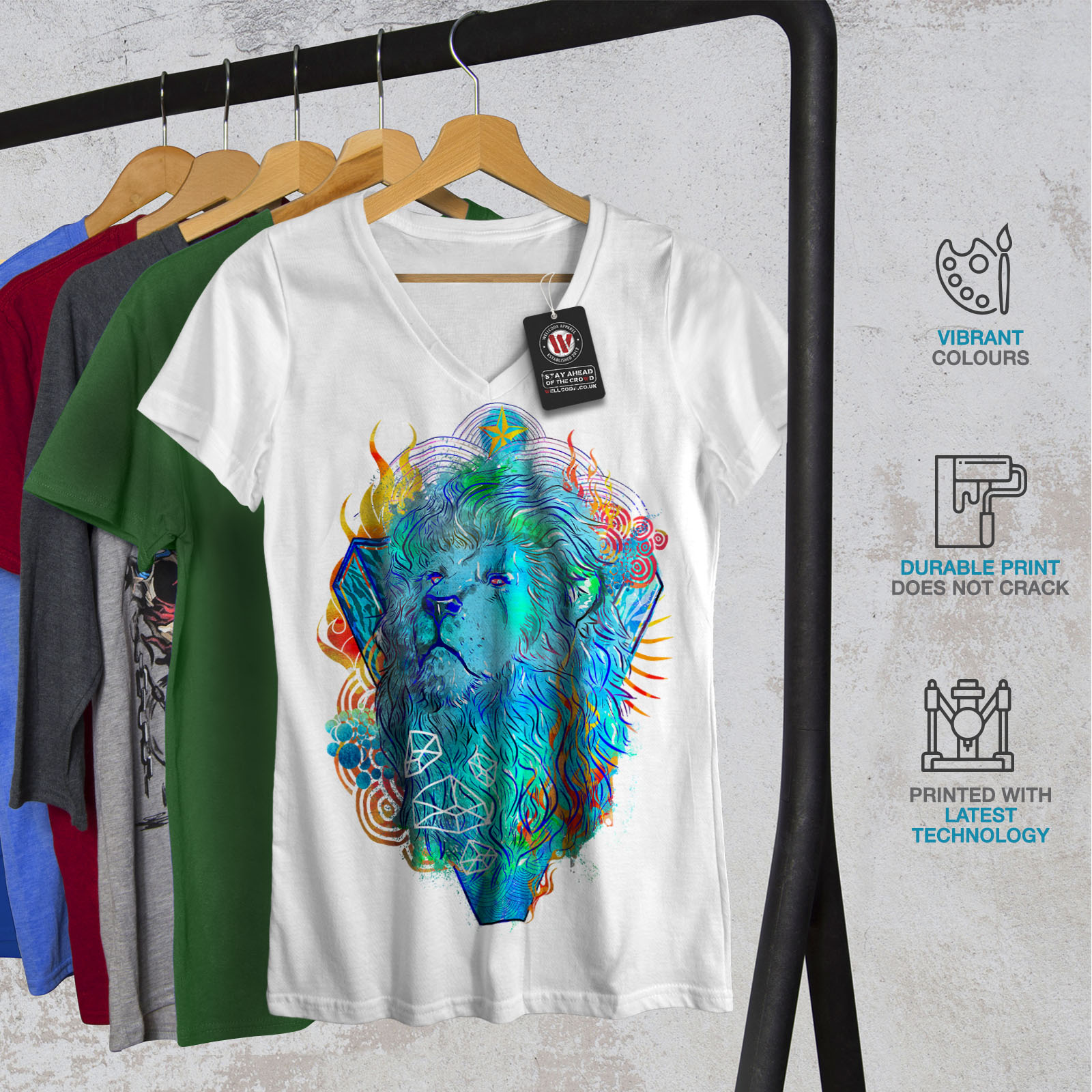 conception graphique Tee Wellcoda Lion Creative Art Animal Femme T-Shirt Col V Sauvage