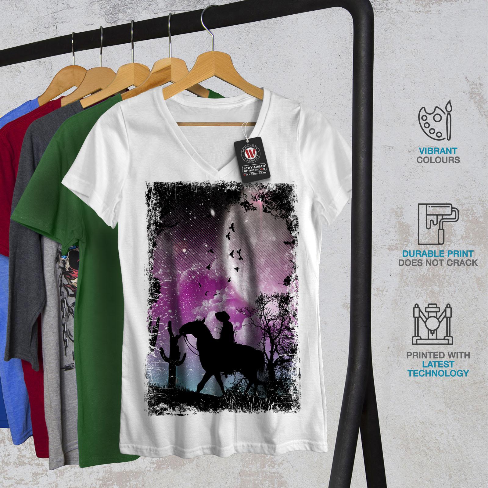 Visible Désert Cactus Lune femme t-shirt col V Cheval Design Graphique Tee