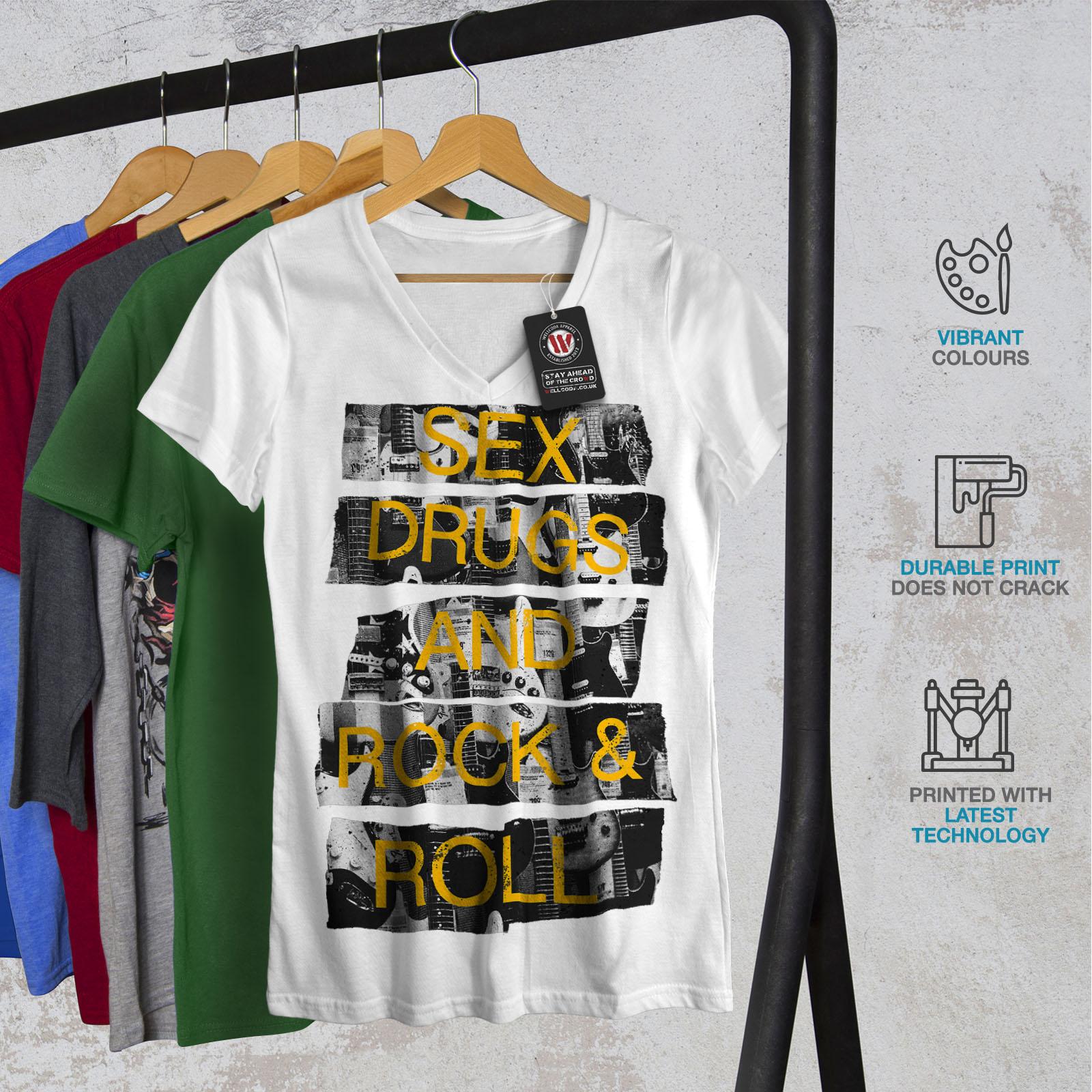 Wellcoda-Sex-Drugs-Rock-Roll-Damen-V-Ausschnitt-T-Shirt-freie-Grafik-Tee Indexbild 8