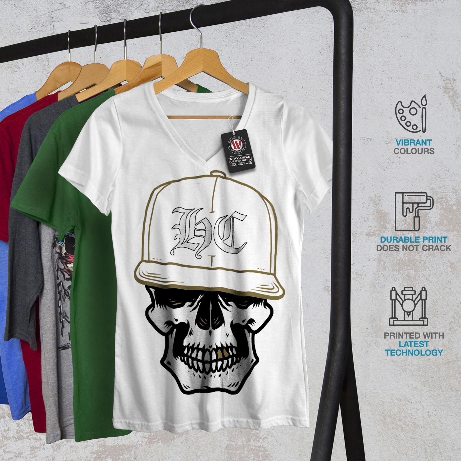 miniature 8 - Wellcoda Skull Swag Gamer Womens V-Neck T-shirt, Rapper Graphic Design Tee
