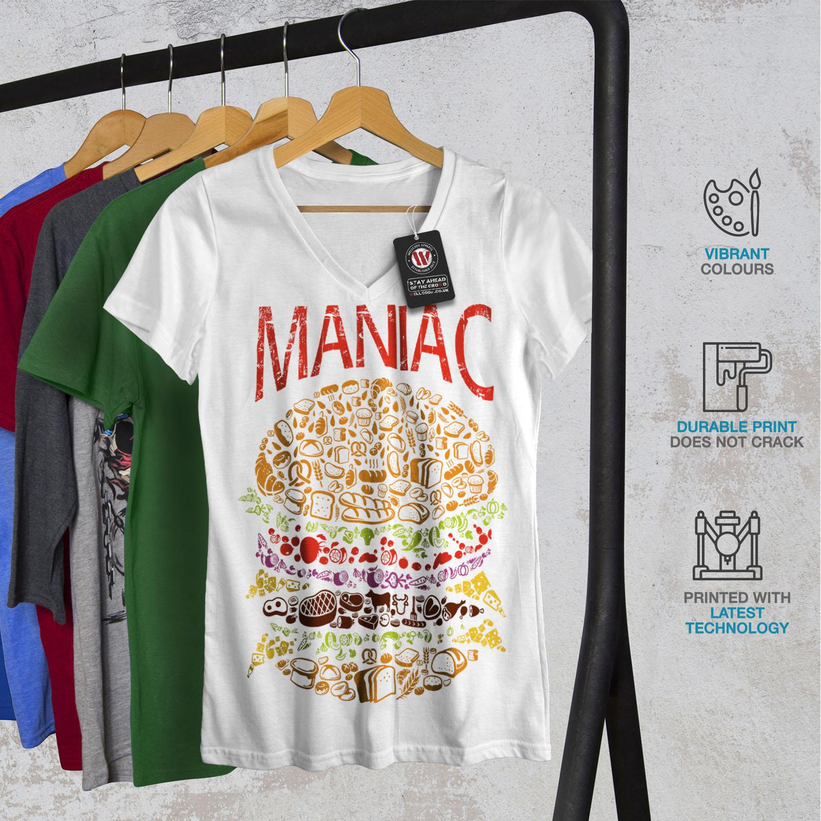 Burger-cibo-spazzatura-Donne-Fast-V-Neck-T-shirt-Nuove-wellcoda miniatura 8