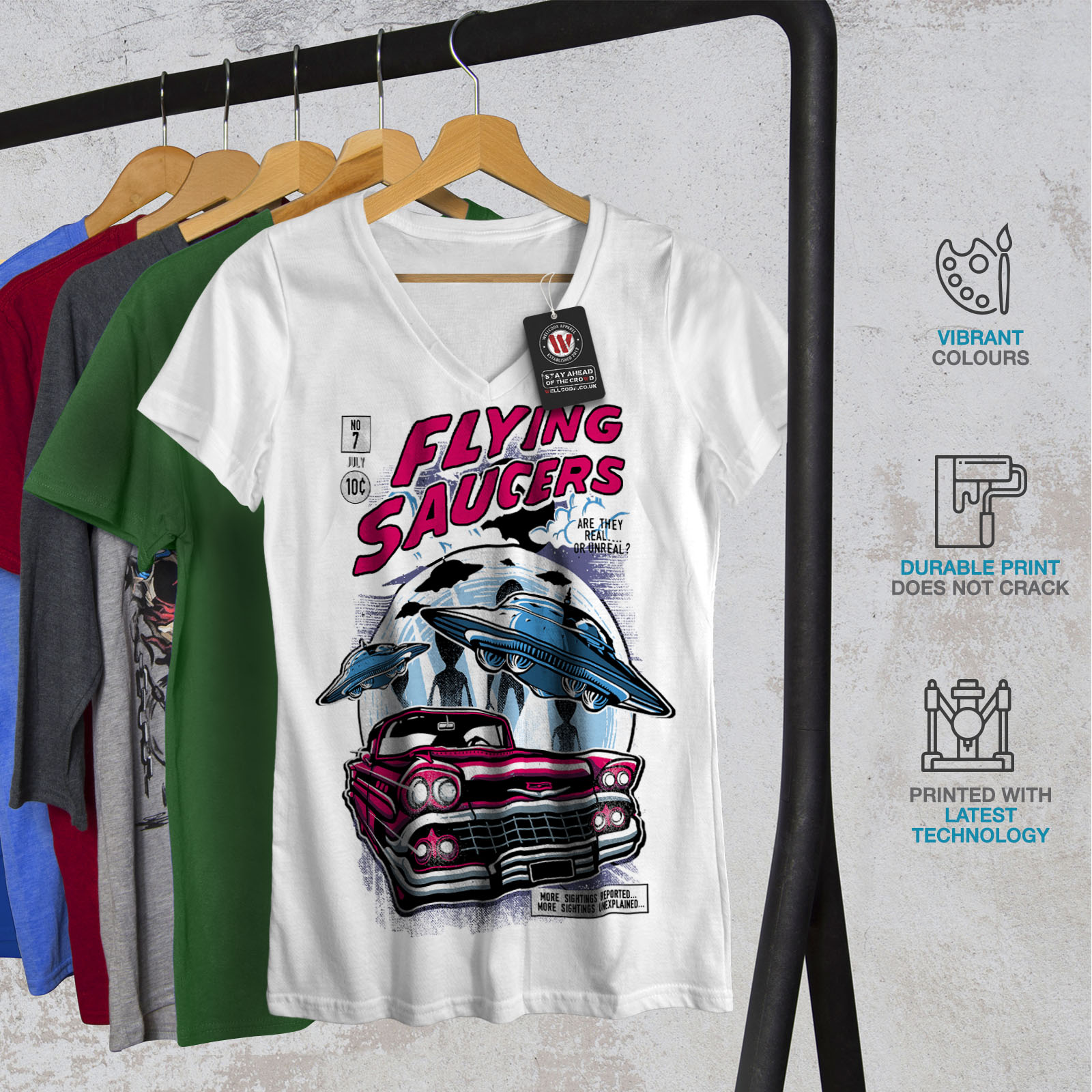 Wellcoda-Flying-Saucers-Fashion-Womens-V-Neck-T-shirt-Graphic-Design-Tee thumbnail 8