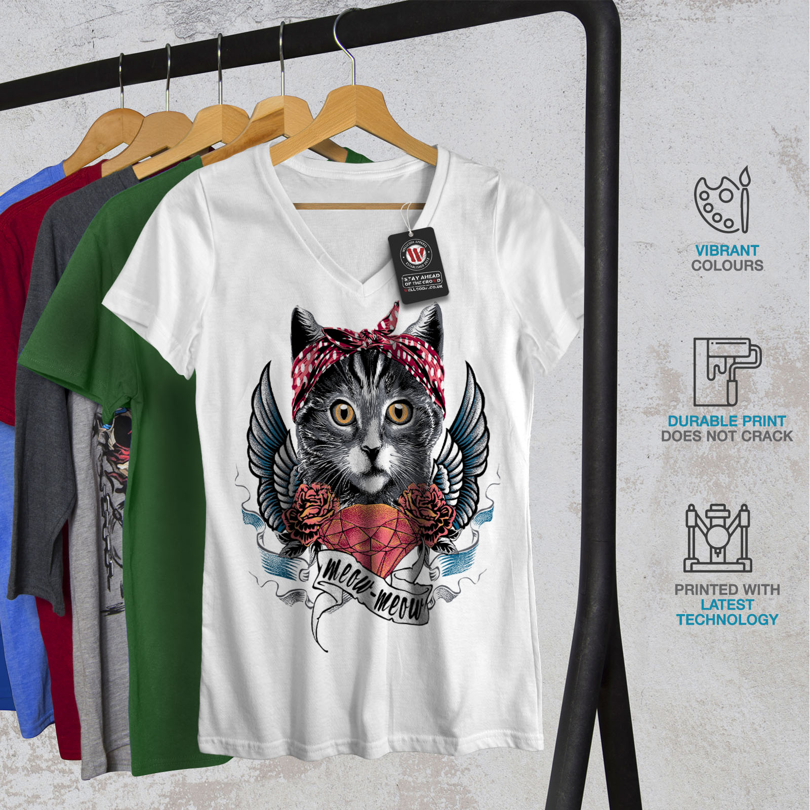 Wellcoda-Mignon-Coeur-ailes-meow-cat-femme-t-shirt-col-V-conception-graphique-Tee miniature 8