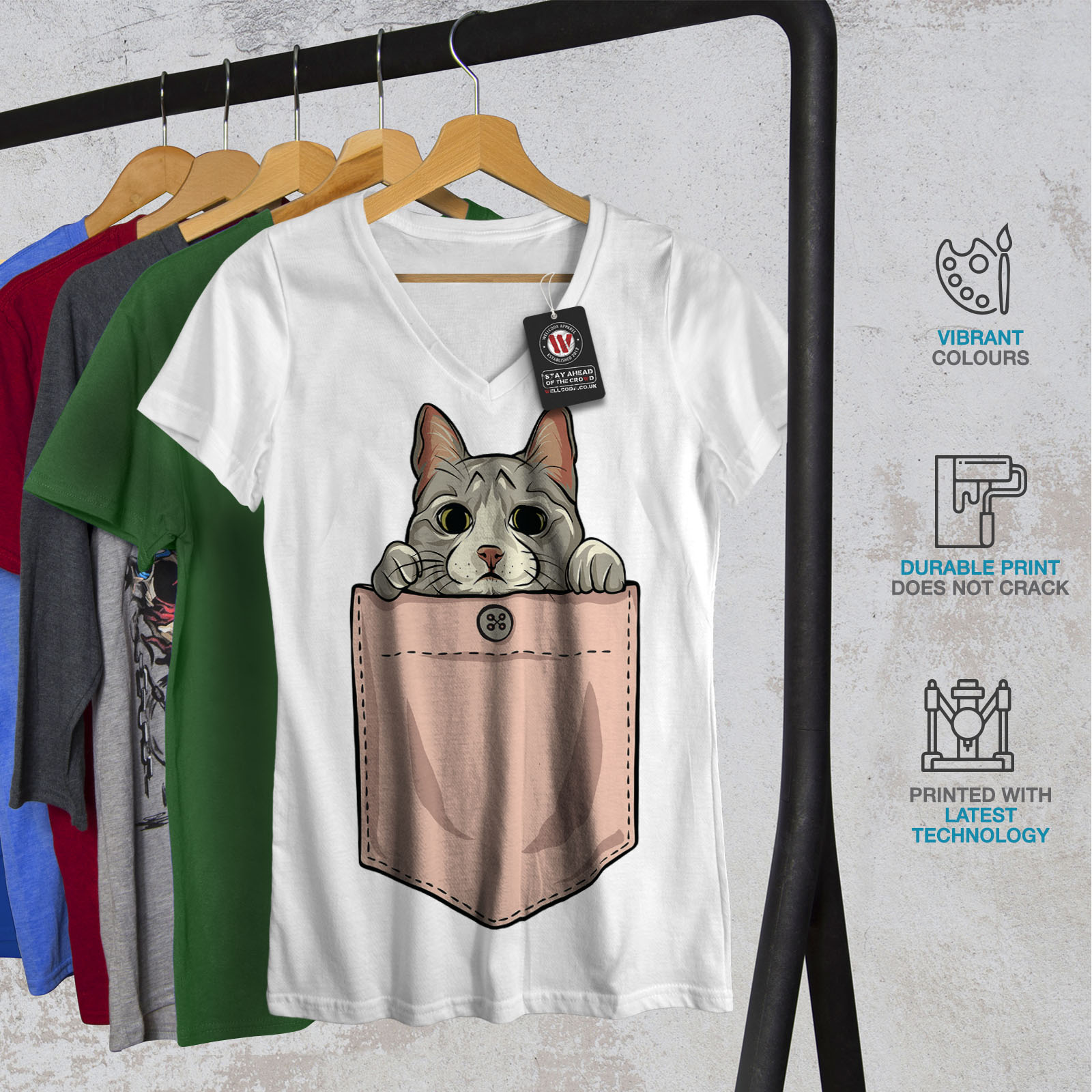 cbdc908cc849 Wellcoda Pocket Cute Kitty Cat Womens V-Neck T-shirt, 0 Graphic ...