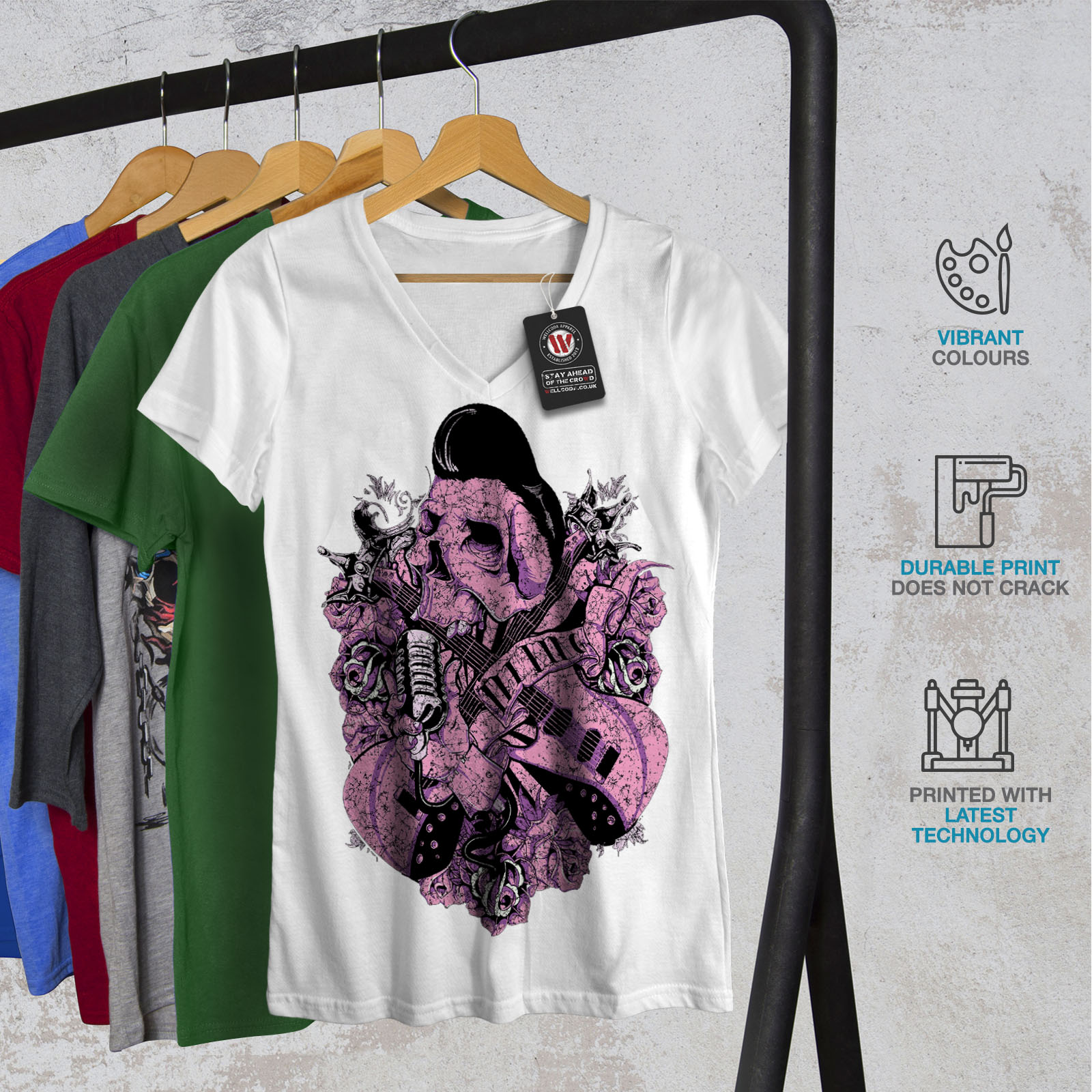 Rock n roll skull musique Femmes Femmes Femmes T-Shirt col V nouveau dd559f