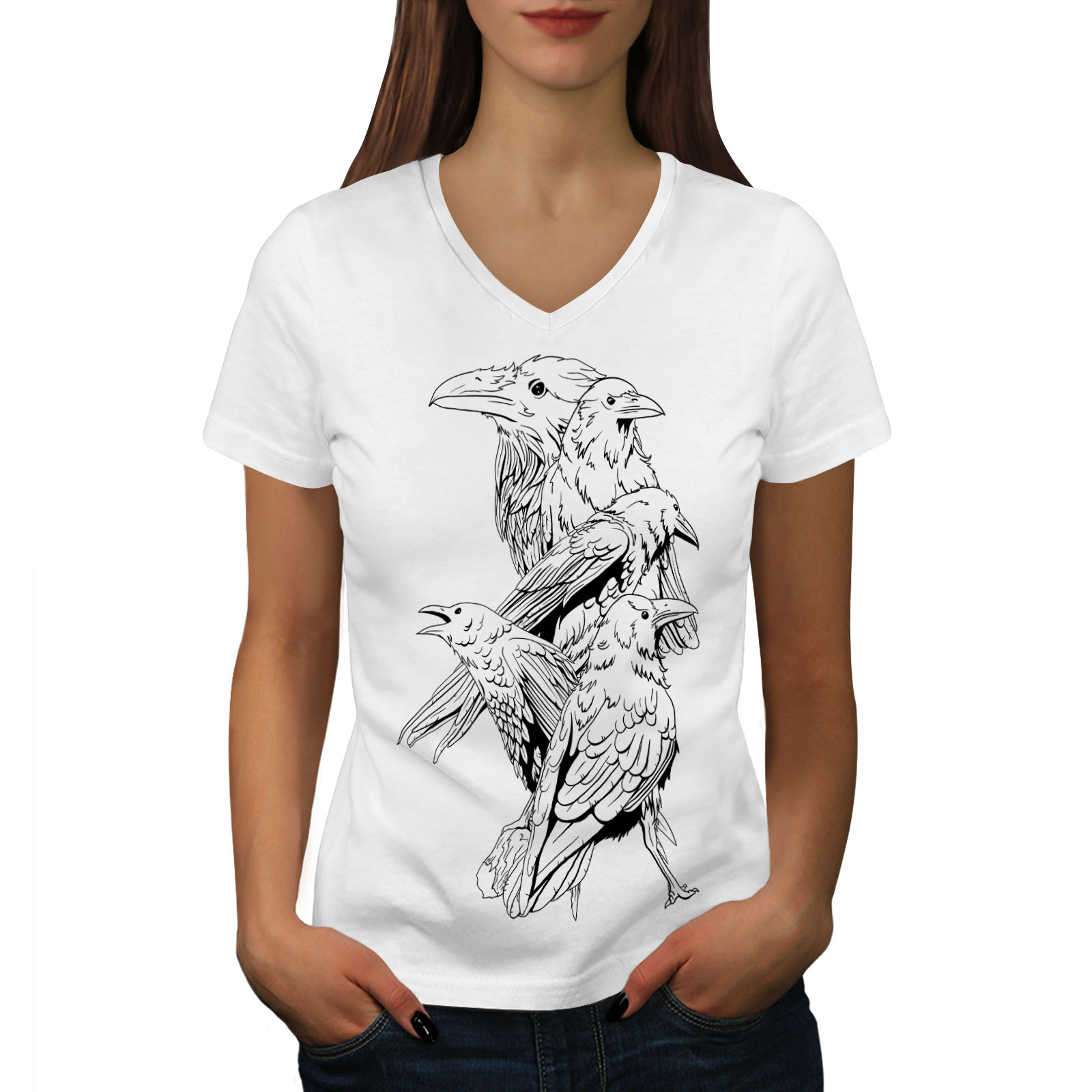 Wellcoda-Four-Scary-Raven-Womens-V-Neck-T-shirt-Crow-Birds-Graphic-Design-Tee thumbnail 7