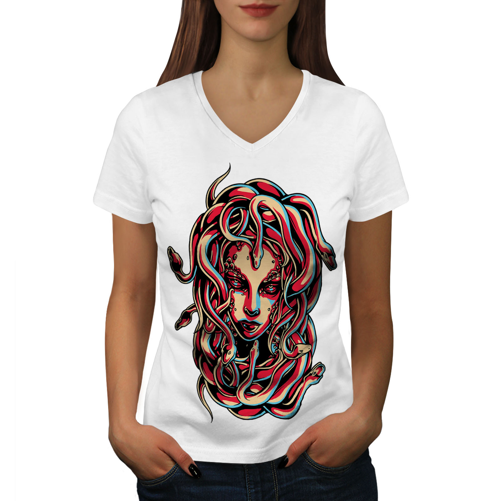 Wellcoda MEDUSA REGINA Serpente Da Donna V-Neck T-shirt VIPER Graphic Design Tee