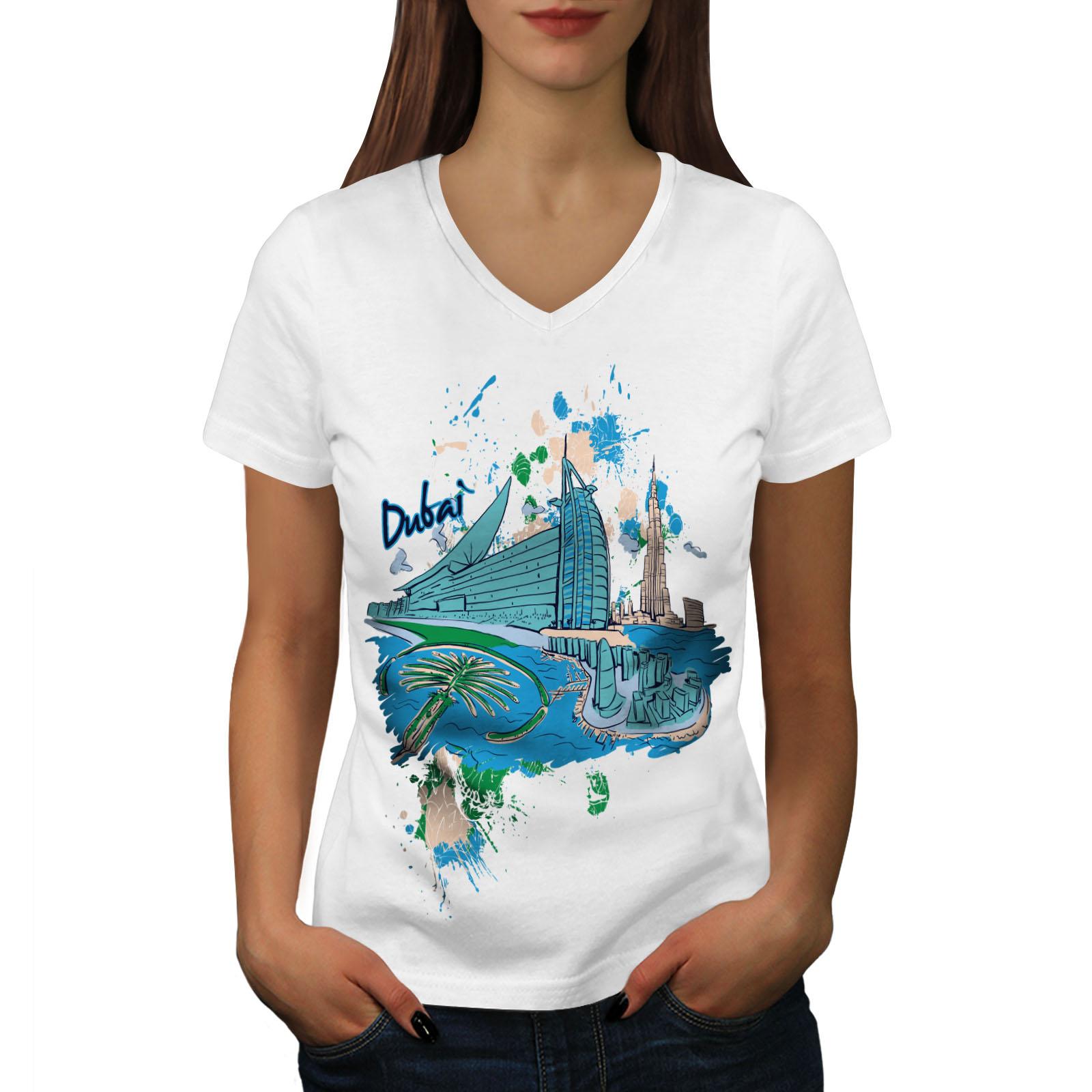 Wellcoda-Dubai-Womens-V-Neck-T-shirt-United-Arab-Graphic-Design-Tee thumbnail 7
