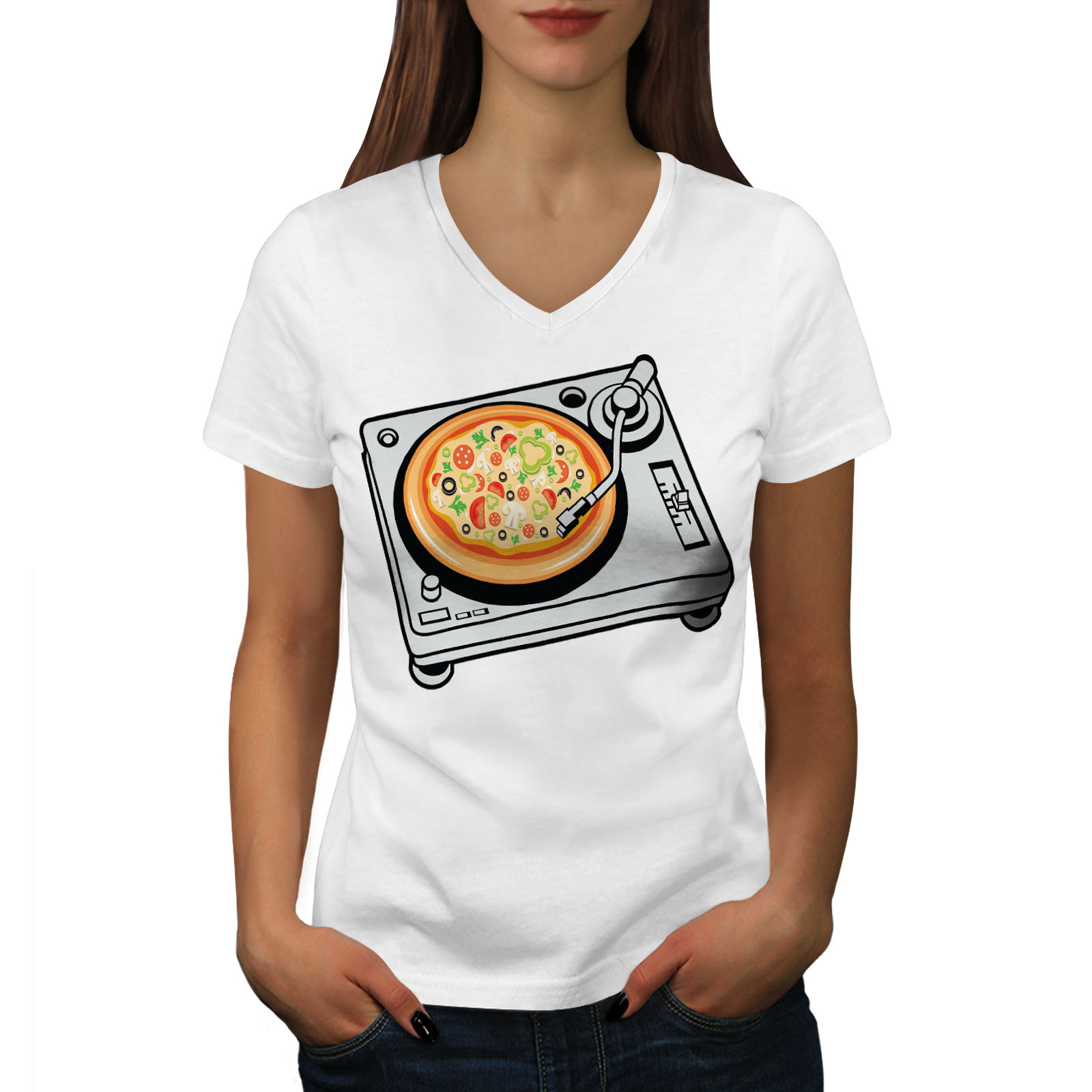 Pizza Dj Mezcla Música Comida Mujer Camiseta con cuello en v NUEVOWellcoda