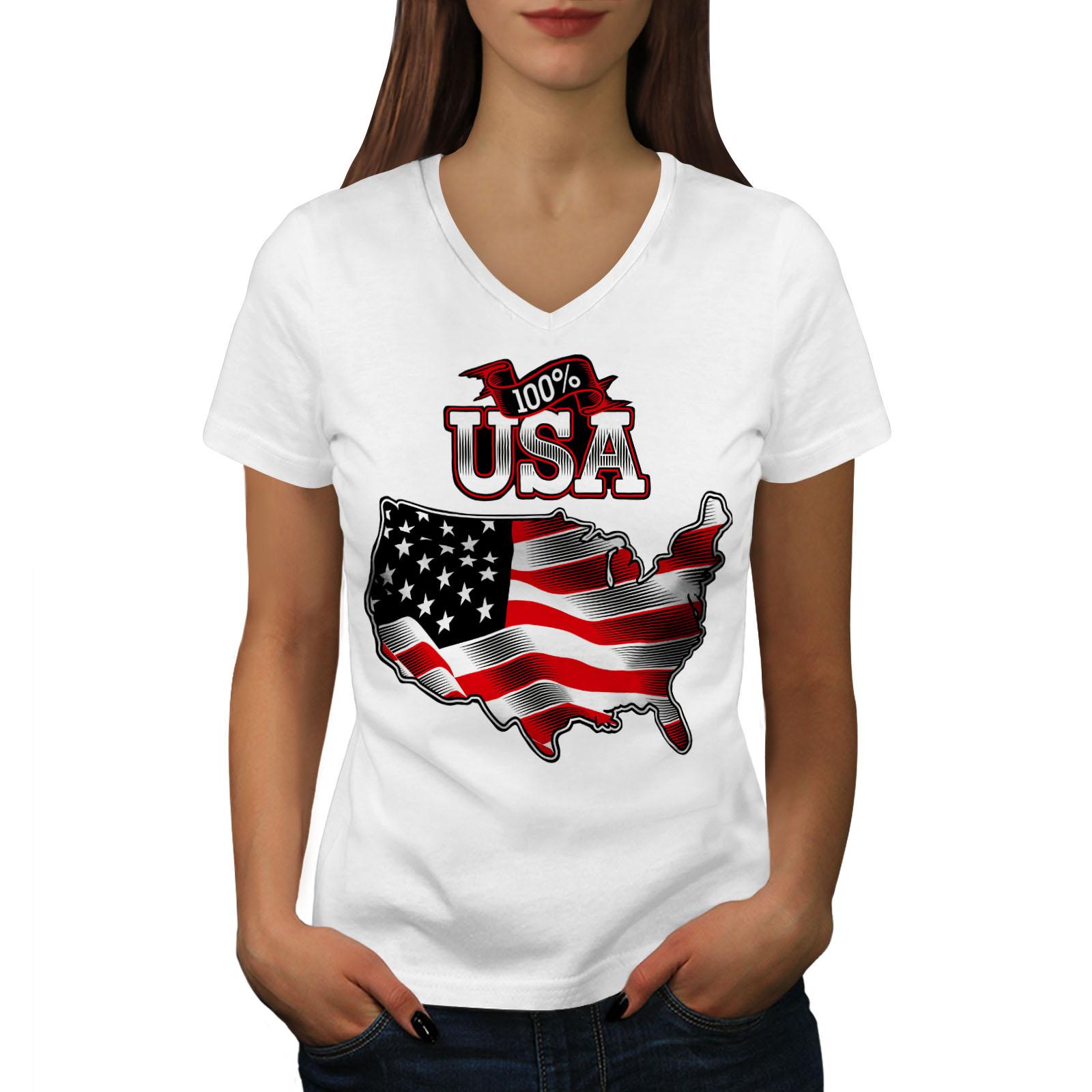 Wellcoda-American-Flag-Womens-V-Neck-T-shirt-USA-Country-Graphic-Design-Tee thumbnail 7