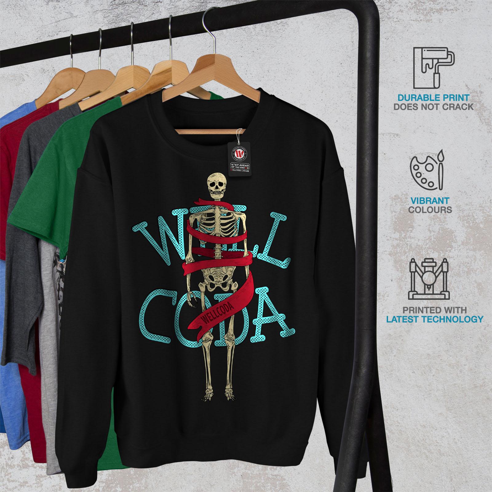 Wellcoda Mens Sweatshirt Anatomy Skeleton Black Pullover Fashion Casual Jumper EwxEr7qRB