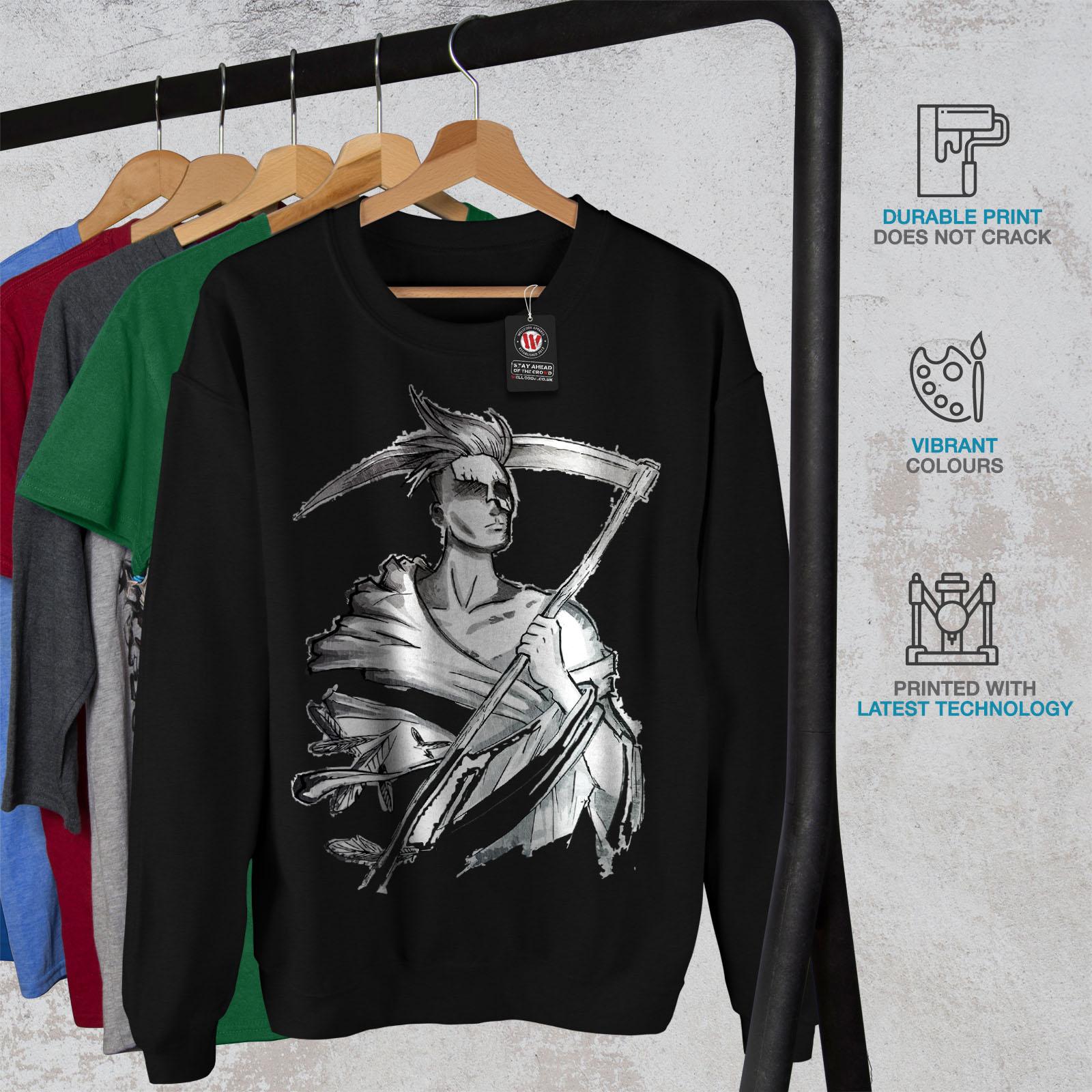 Death Pullover Black uomo da Cool Jumper Grim Reaper Wellcoda Casual Sweatshirt x6AYv8nwHw