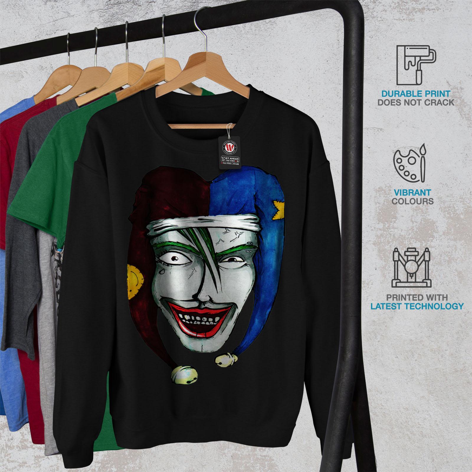 Wellcoda Casual uomo Pullover da Nero Laugh Clown Felpa Scary SCEExw