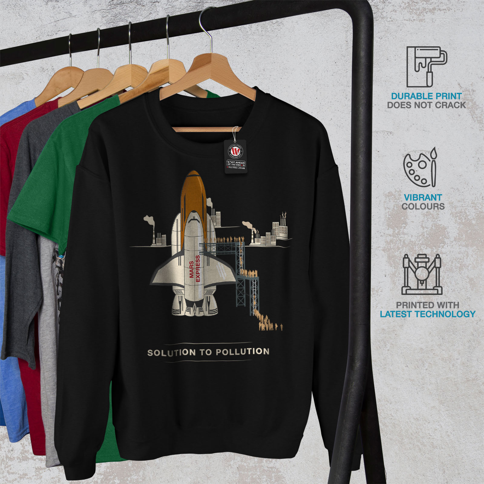 Felpa Casual da Pollution Wellcoda uomo To Mars Solution Jumper Black Pullover q1xafwPR4