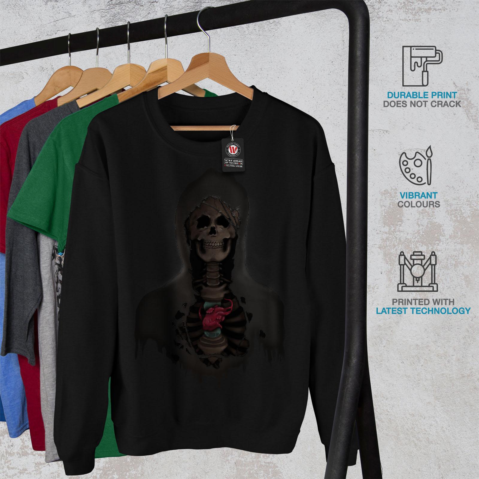 Scary Printed on The Jumpers Back wellcoda Rock Skull Heart Mens Hoodie