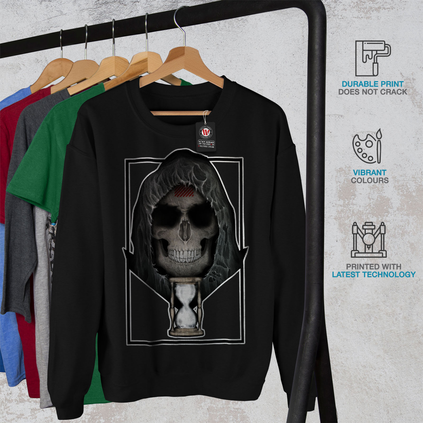 Orologio Mens Skull Metal Dead Jumper Sweatshirt Wellcoda Black Death Casual Pullover pnd7xgPq