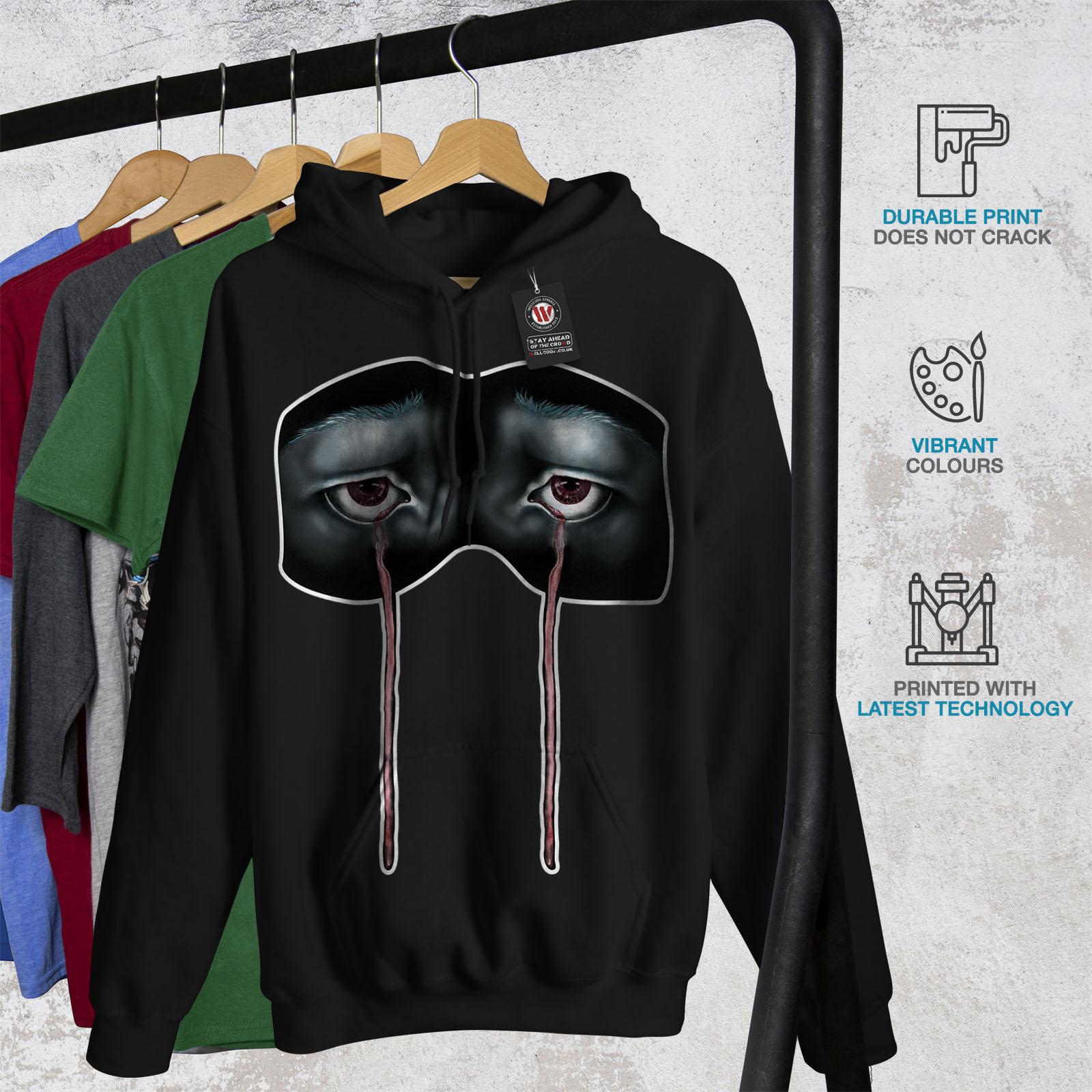 Casual Freaky Wellcoda Sweatshirt Hooded Creepy Cry Black Mens Hoodie Scary wcWT7qHa