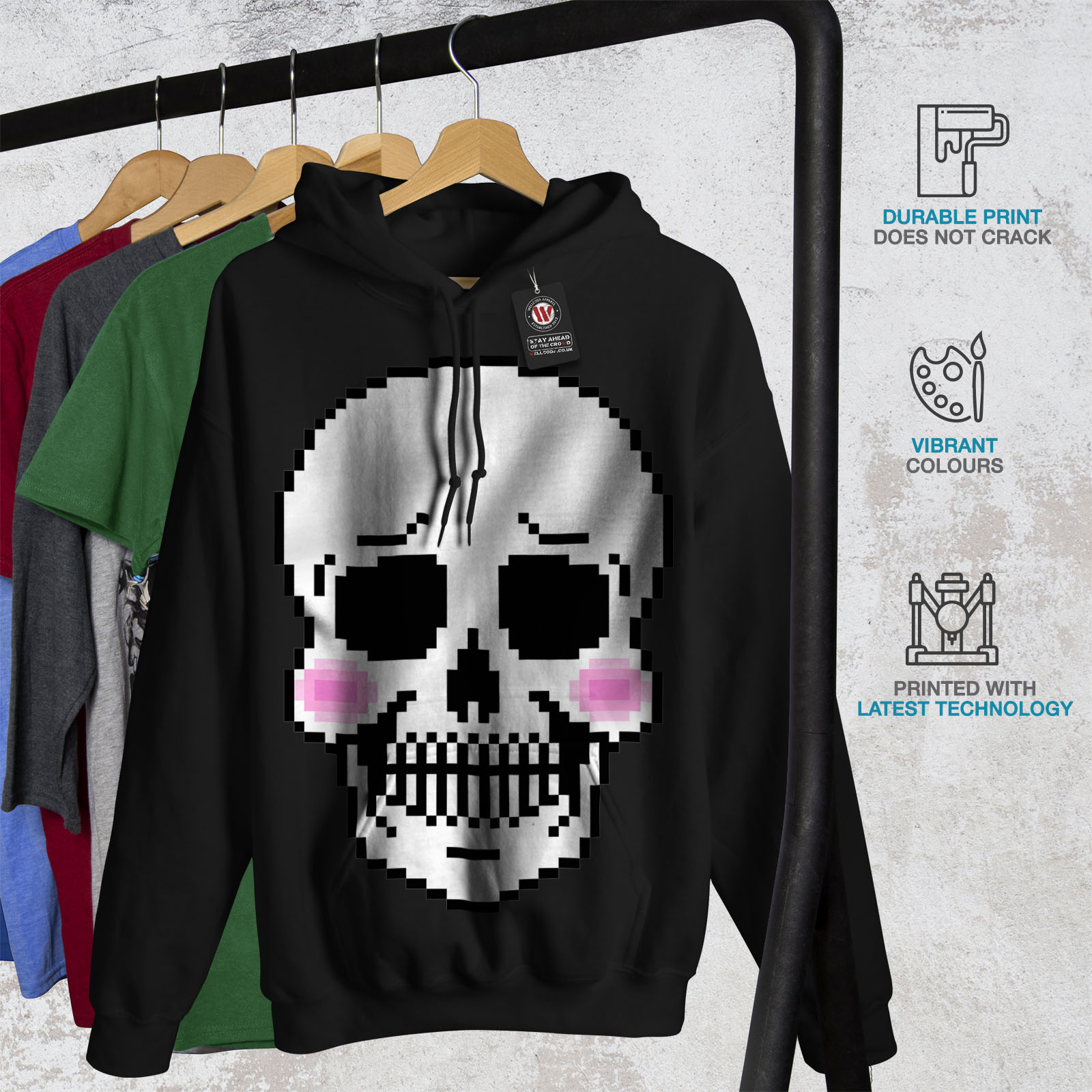 Blush Skull Hooded Hoodie Wellcoda Sweatshirt Cute Casual Black Skeleton Mens p6ggxWUn