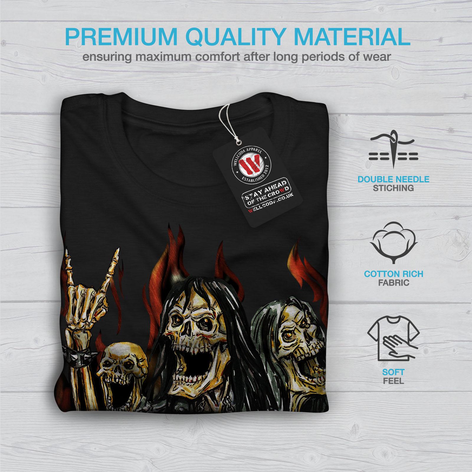 Wellcoda Scheletro Rock Band Uomo T-shirt pesante Maglietta Graphic Design Stampato
