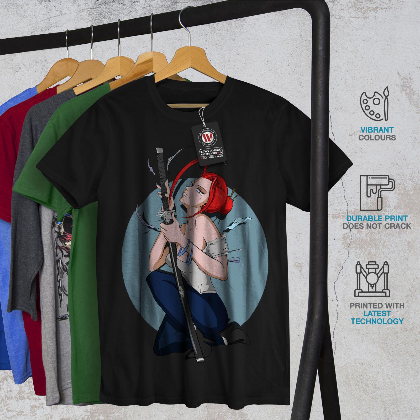 Wellcoda-Anime-Katana-Girl-Mens-T-shirt-Japanese-Graphic-Design-Printed-Tee thumbnail 6