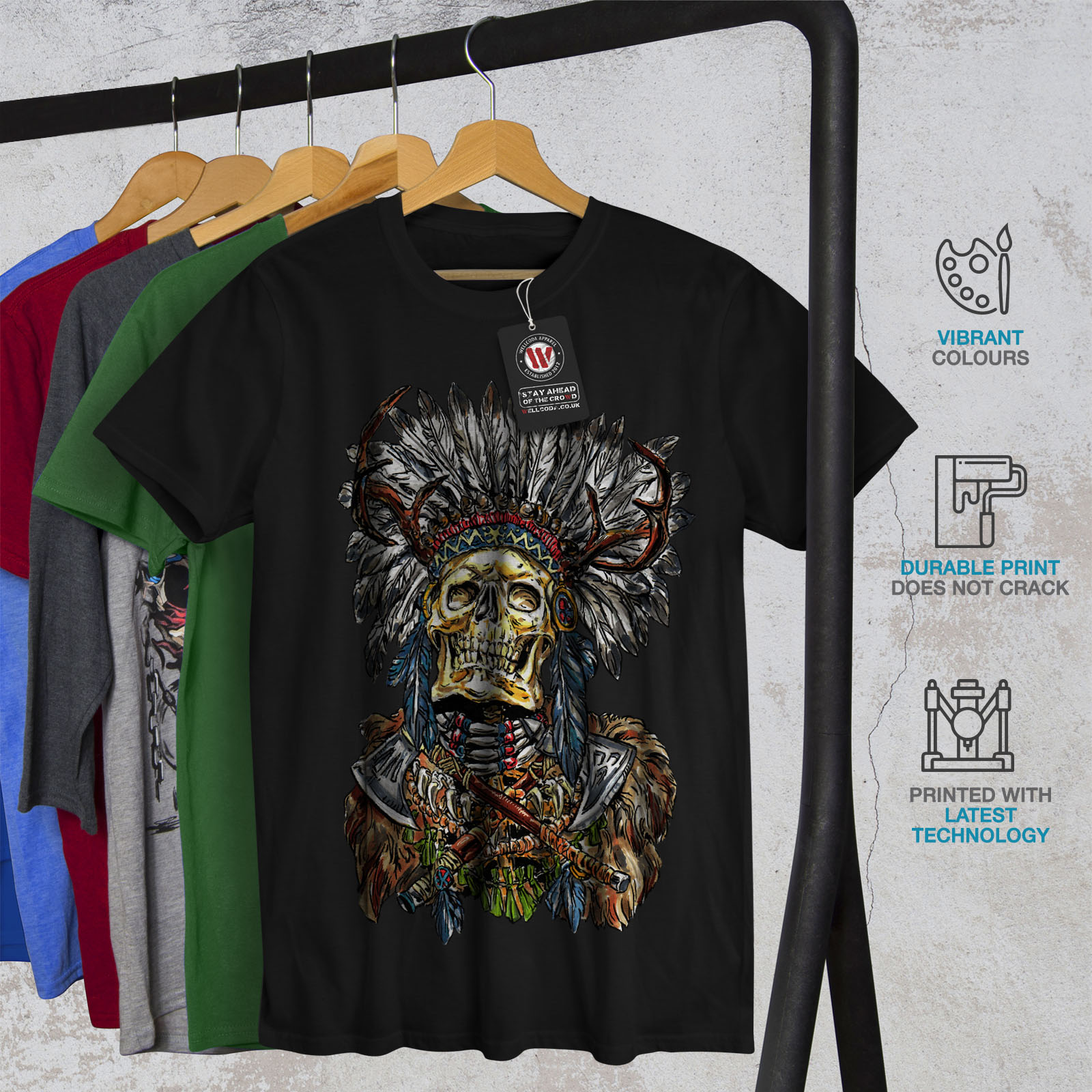 Wellcoda Native Metal Badass Mens T-shirt, Native Graphic ...
