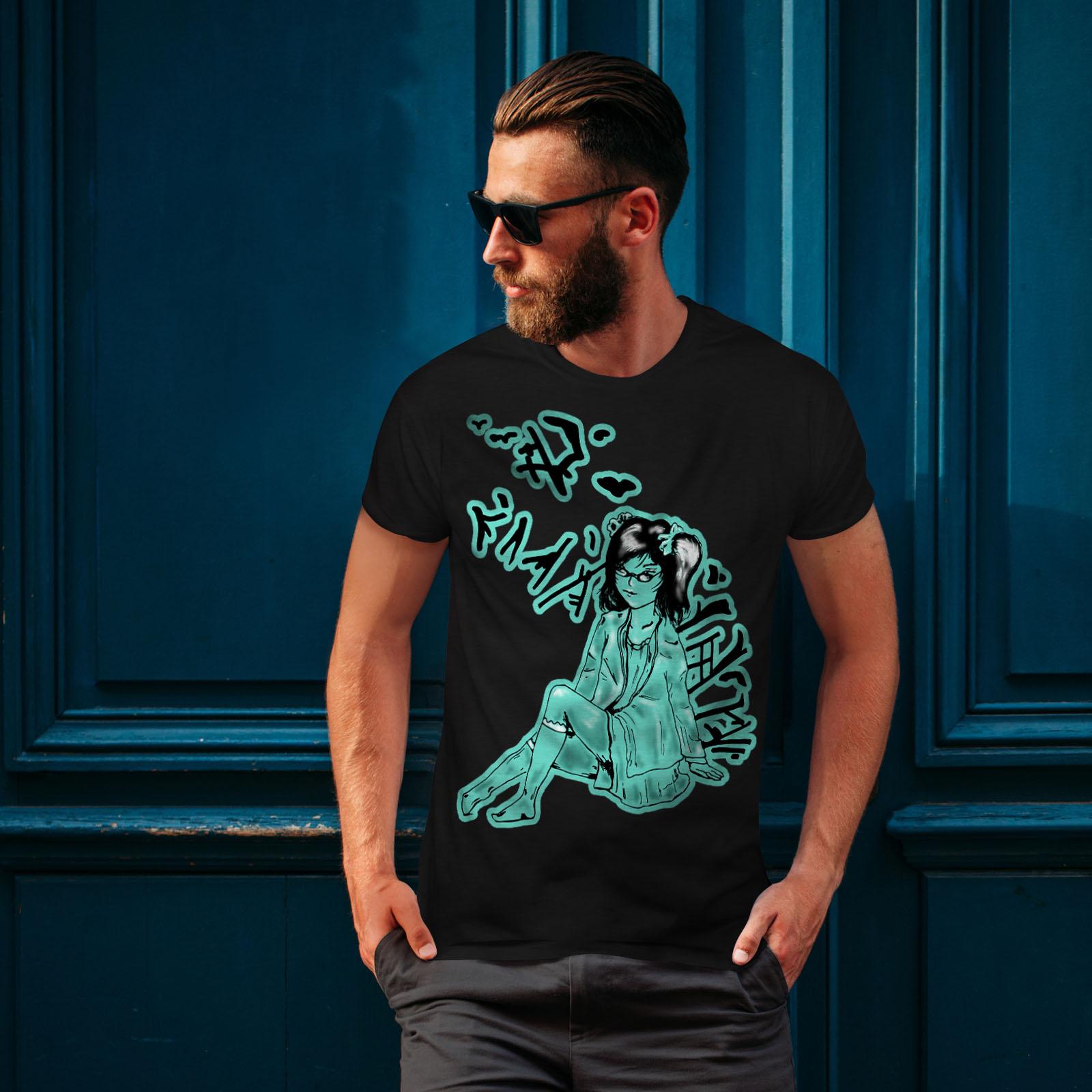 Girl Graphic Design Printed Tee Wellcoda Gothic Asian Lady Mens T-shirt