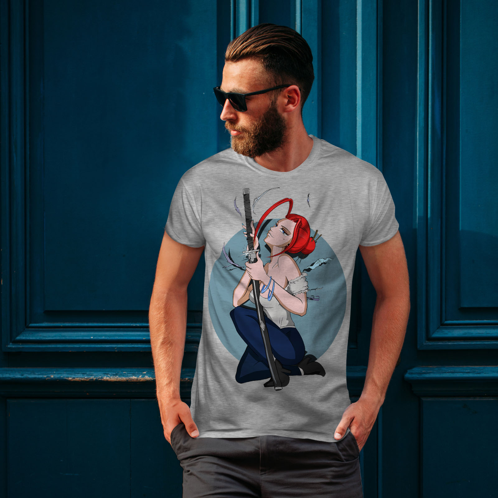 Wellcoda-Anime-Katana-Girl-Mens-T-shirt-Japanese-Graphic-Design-Printed-Tee thumbnail 16