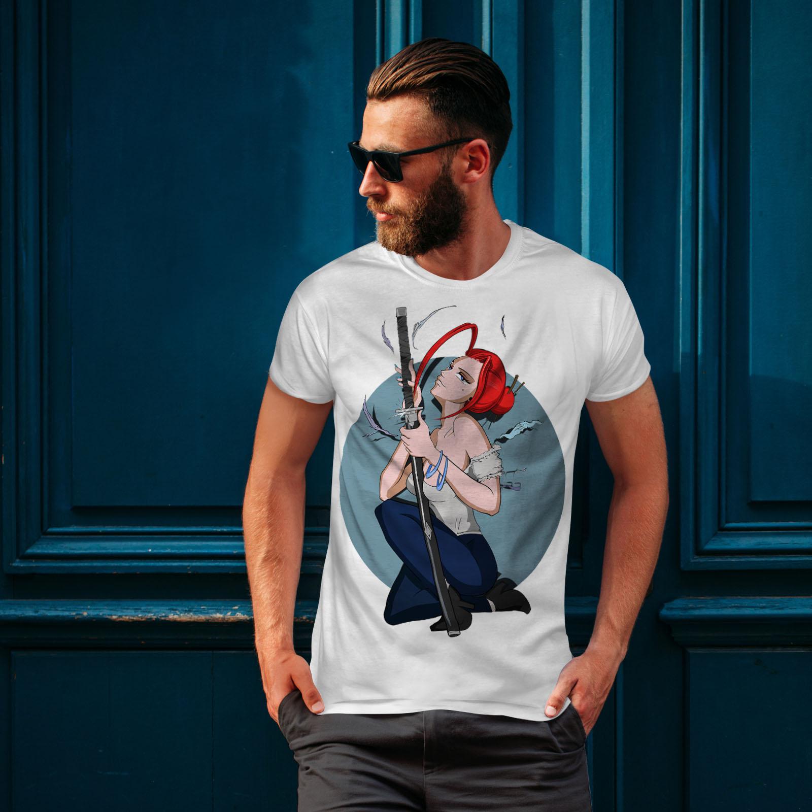 Wellcoda-Anime-Katana-Girl-Mens-T-shirt-Japanese-Graphic-Design-Printed-Tee thumbnail 10