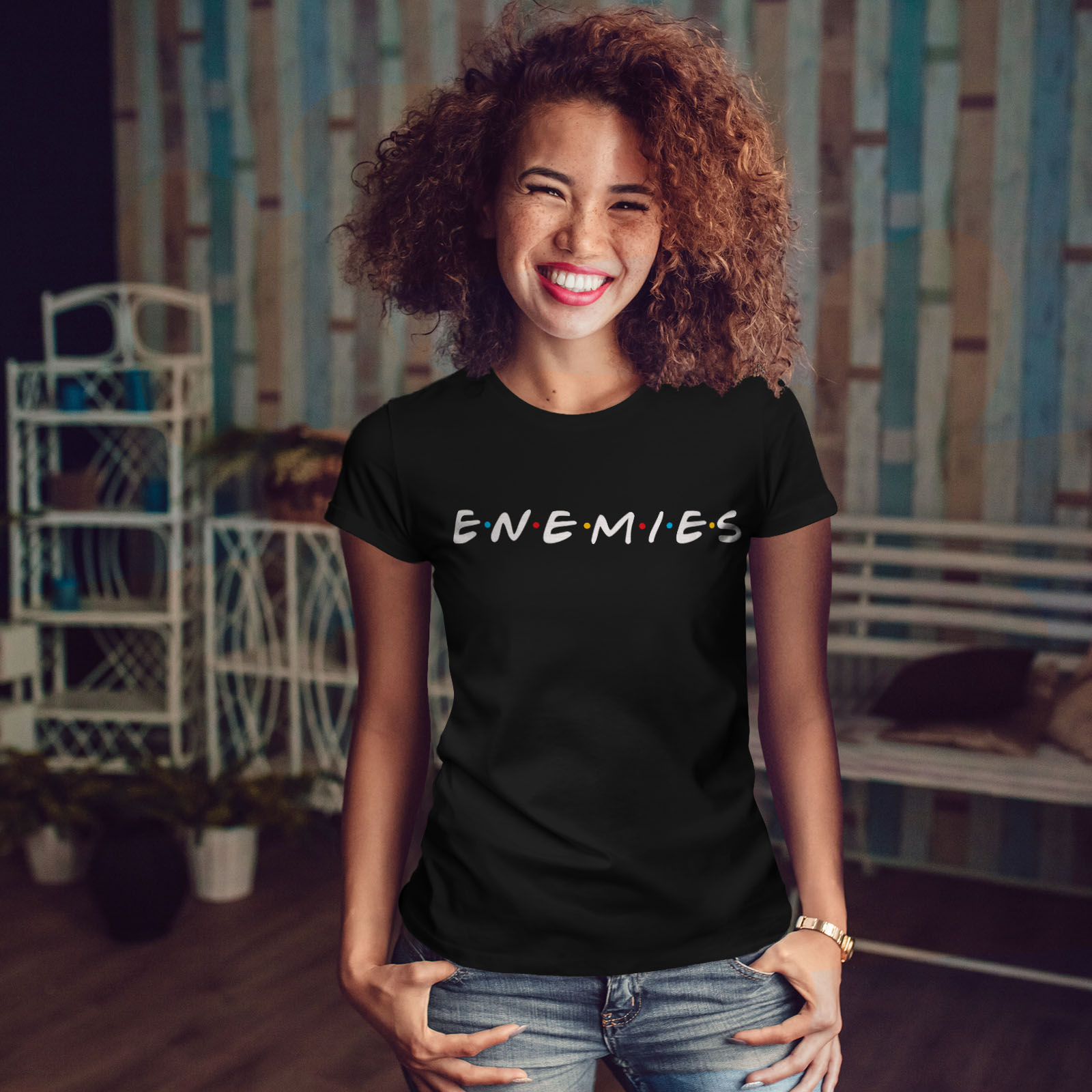 Wellcoda-Freunde-oder-Feinde-Damen-T-Shirt-Serie-Casual-Design-Printed-Tee Indexbild 4