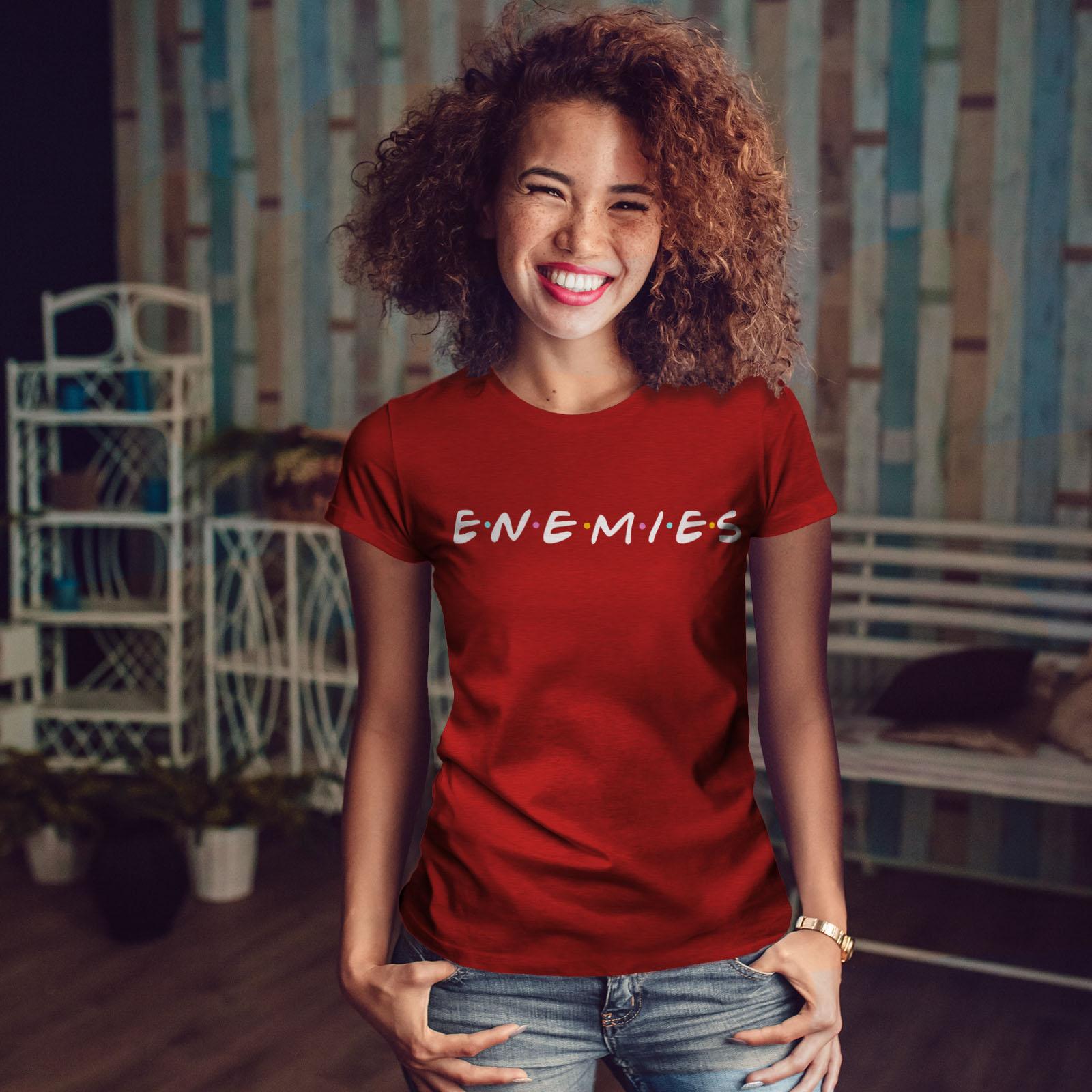 Wellcoda-Freunde-oder-Feinde-Damen-T-Shirt-Serie-Casual-Design-Printed-Tee Indexbild 10
