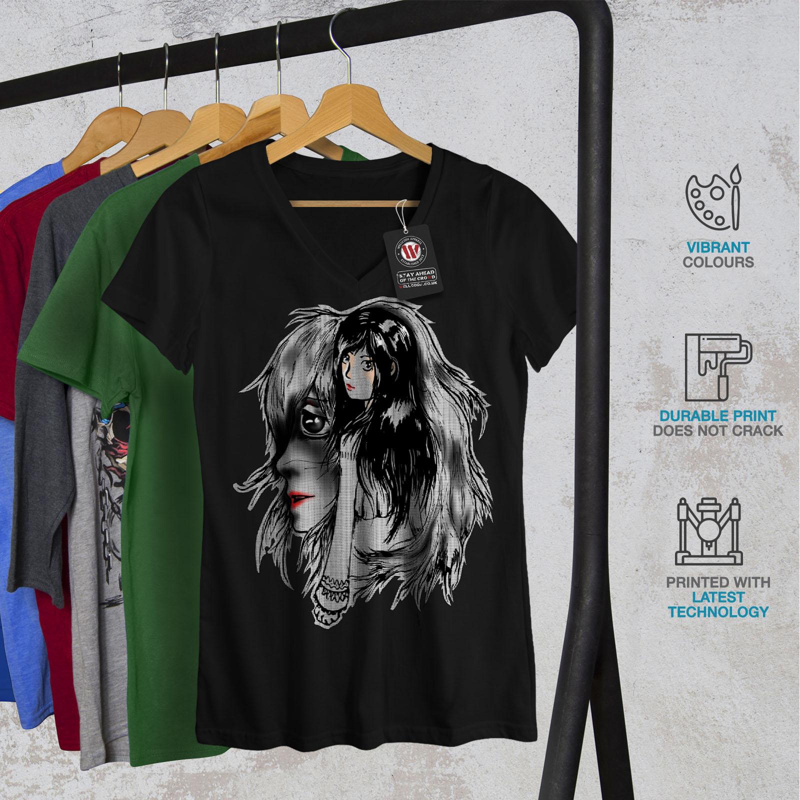 Wellcoda-BELLISSIMO-ANIME-Da-Donna-V-Neck-T-shirt-misterioso-Design-Grafico-Tee miniatura 4