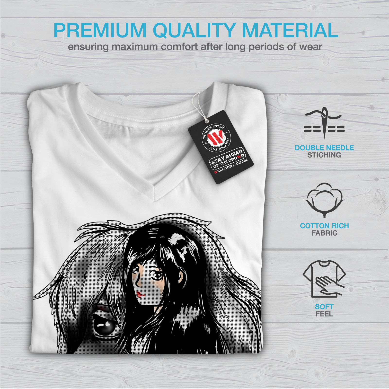 Wellcoda-BELLISSIMO-ANIME-Da-Donna-V-Neck-T-shirt-misterioso-Design-Grafico-Tee miniatura 9