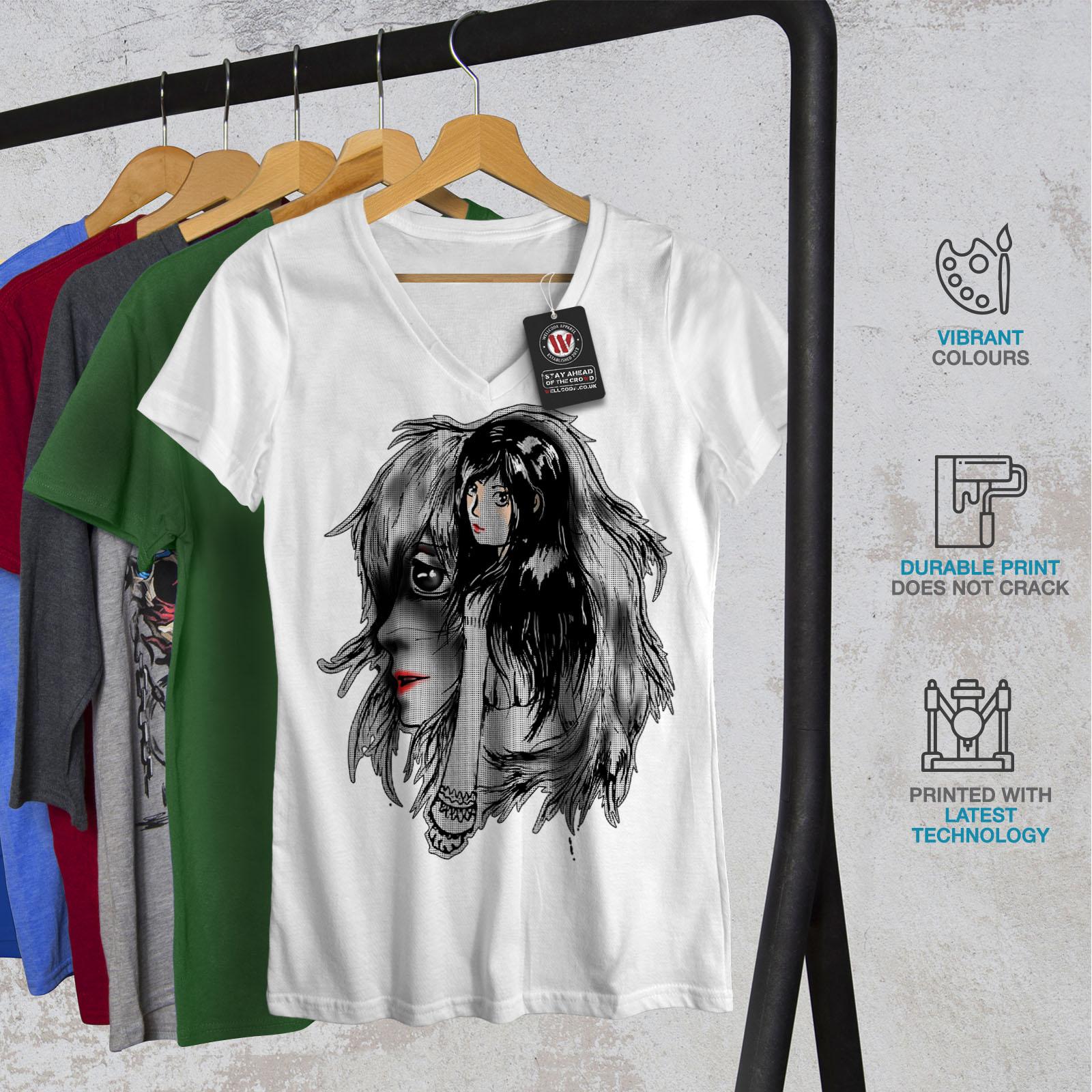 Wellcoda-BELLISSIMO-ANIME-Da-Donna-V-Neck-T-shirt-misterioso-Design-Grafico-Tee miniatura 8