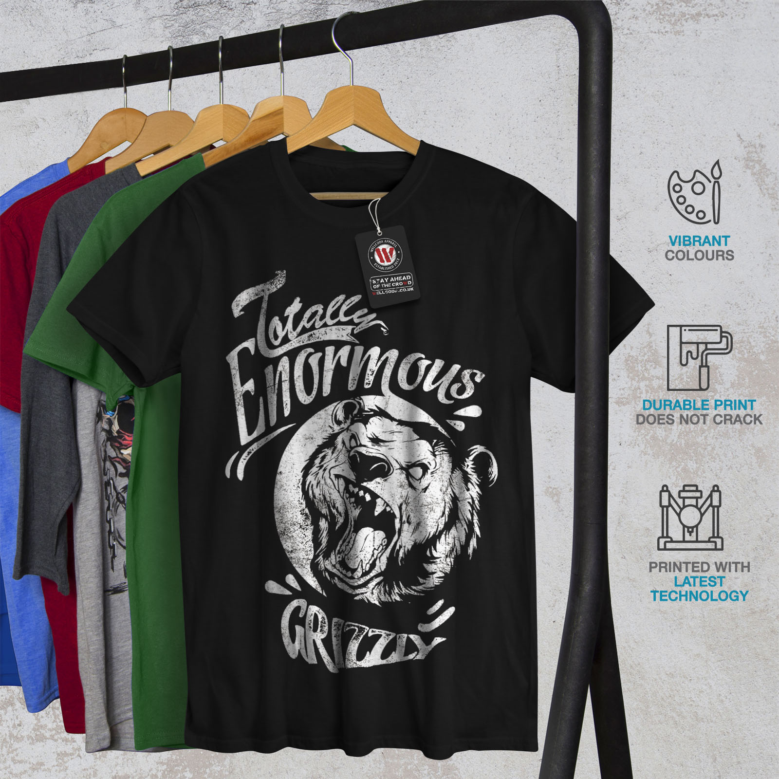 miniature 6 - Wellcoda Enormous Grizzly Bear Mens T-shirt, Totally Graphic Design Printed Tee