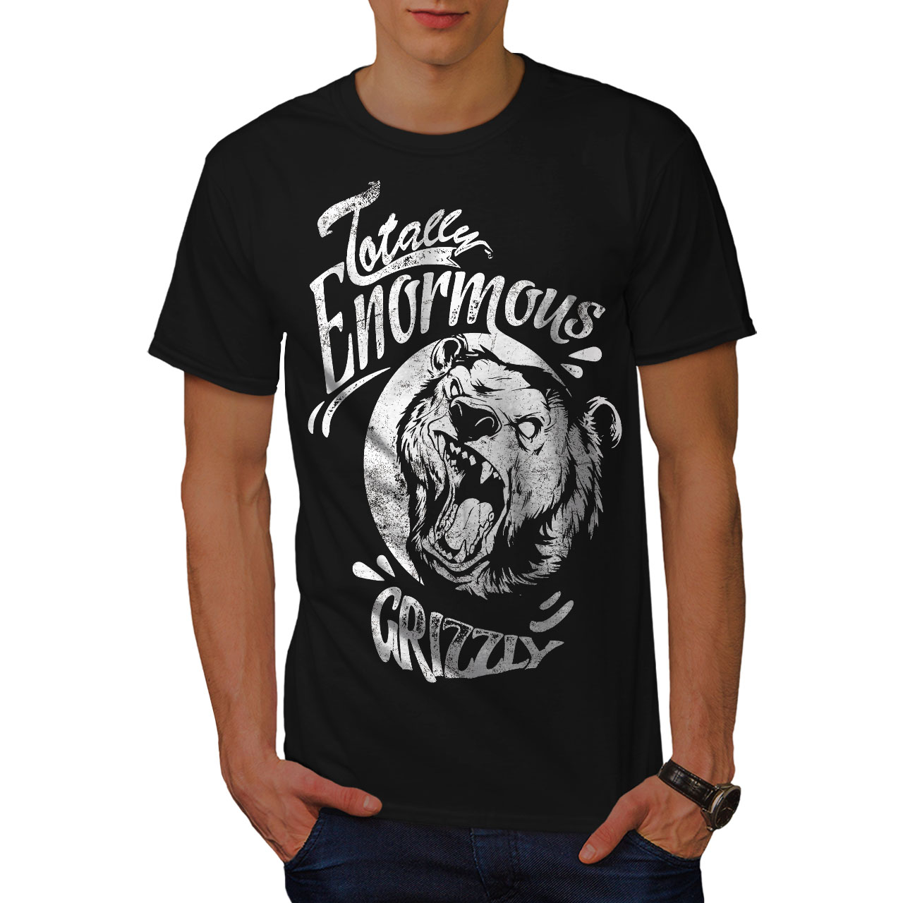 miniature 3 - Wellcoda Enormous Grizzly Bear Mens T-shirt, Totally Graphic Design Printed Tee