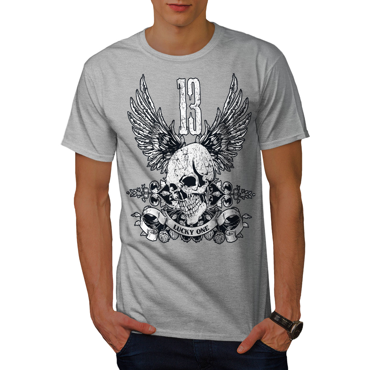 Lucky Graphic Design Printed Tee Wellcoda Unlucky Number 13 Mens T-shirt