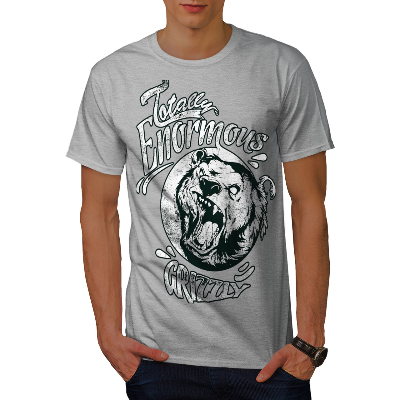 miniature 15 - Wellcoda Enormous Grizzly Bear Mens T-shirt, Totally Graphic Design Printed Tee