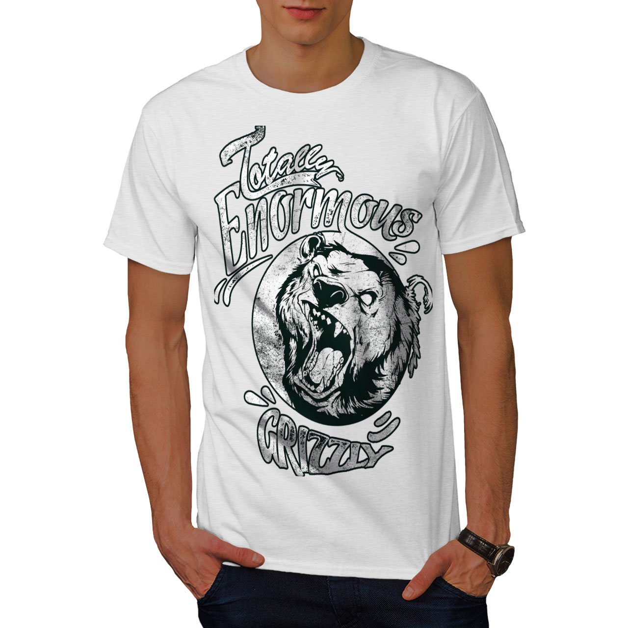 miniature 9 - Wellcoda Enormous Grizzly Bear Mens T-shirt, Totally Graphic Design Printed Tee