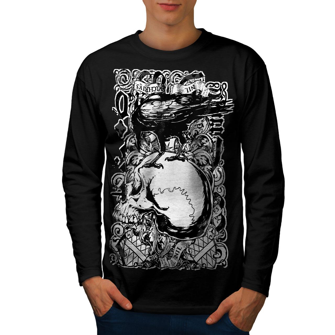 Crow and Skull Mens Long Sleeve T-shirt