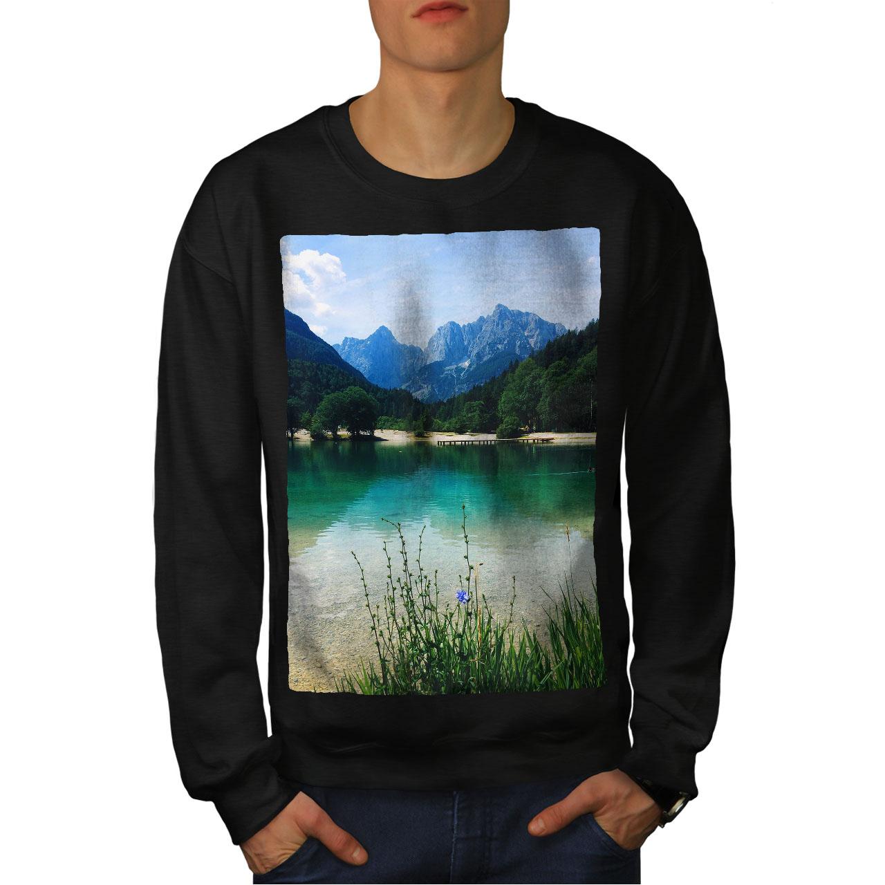 wellcoda Lake Tree Photo Mens Sweatshirt Mountain Casual Jumper