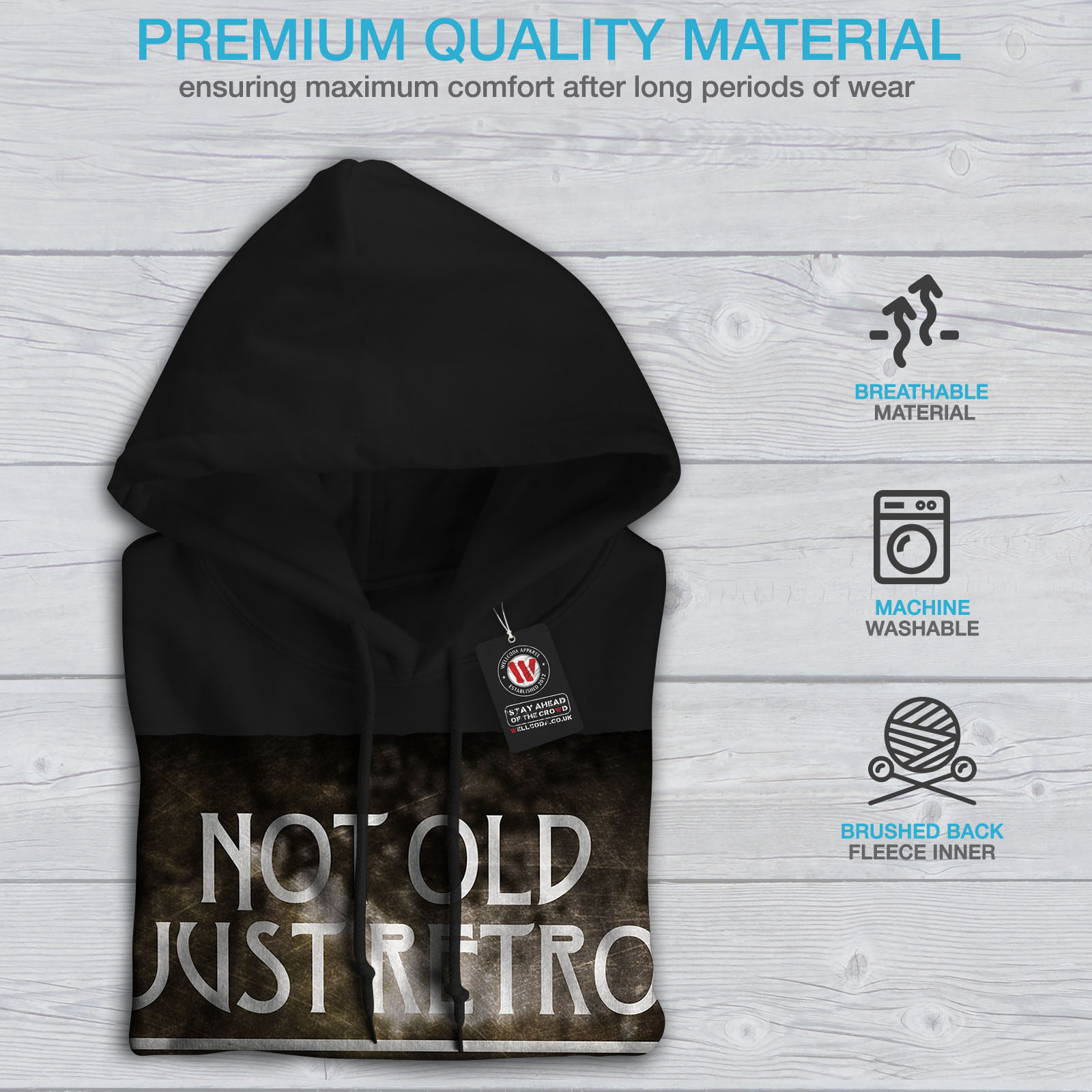 Wellcoda Not Old Retro Car Mens Hoodie Retro Casual Hooded Sweatshirt