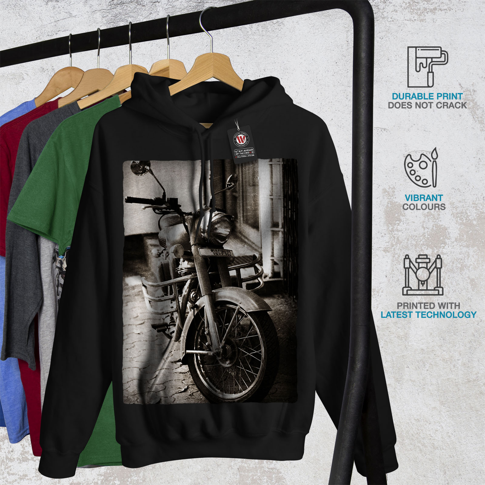 Hoodie Motocicleta Wellcoda New capucha Casual Negro con Mens Sudadera 1qxgxESt