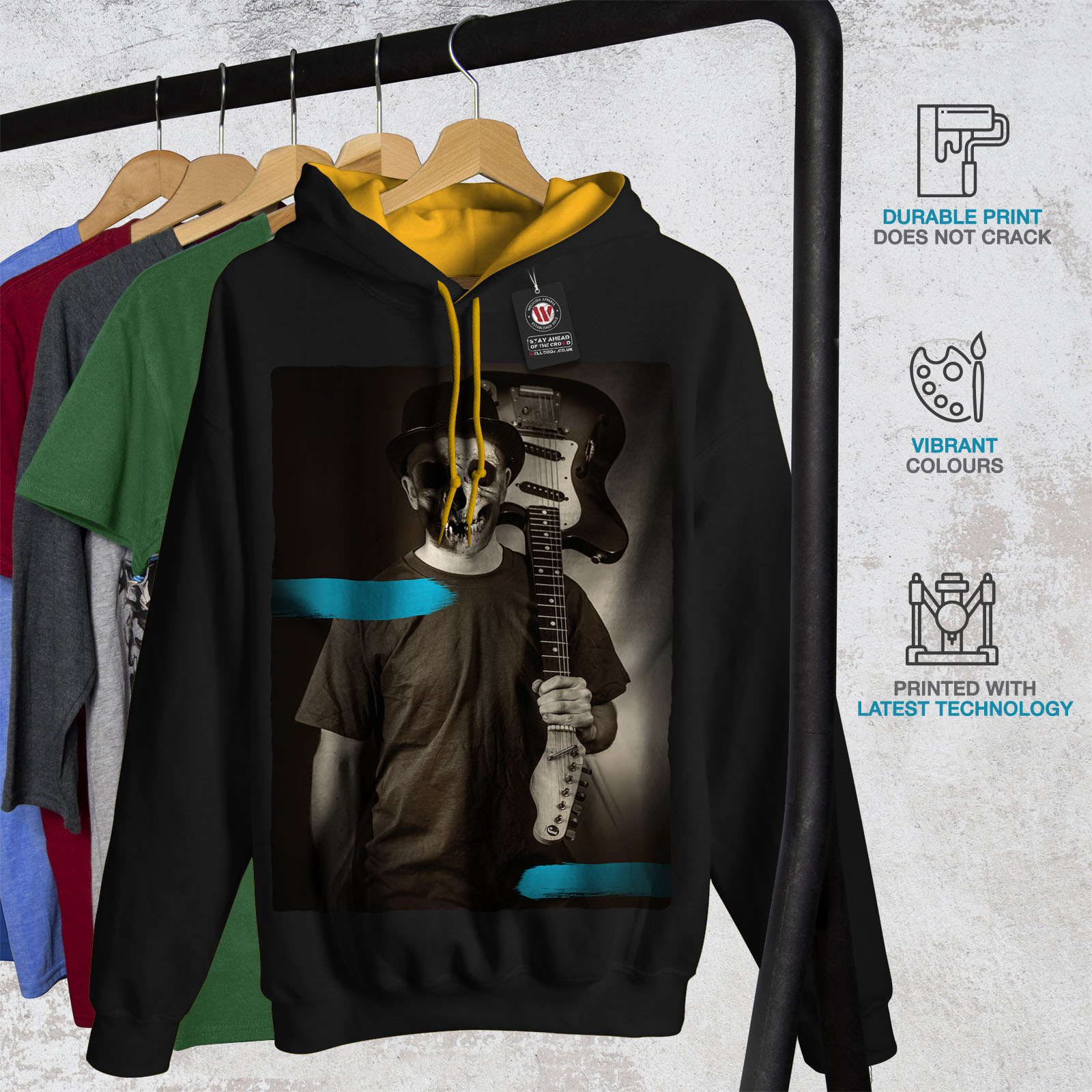 Casual Contrast Jumper gold Hoodie Wellcoda Hood Mens Black Guitarist 4CFOOIn