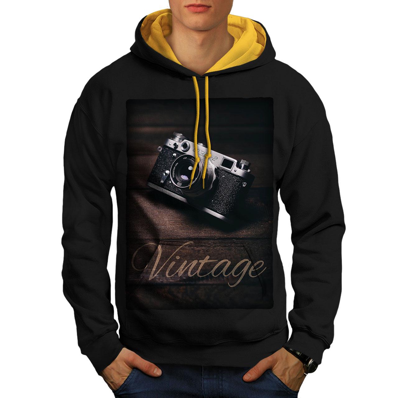 wellcoda Vintage Foto Camera Mens Hoodie Retro Hooded Sweatshirt