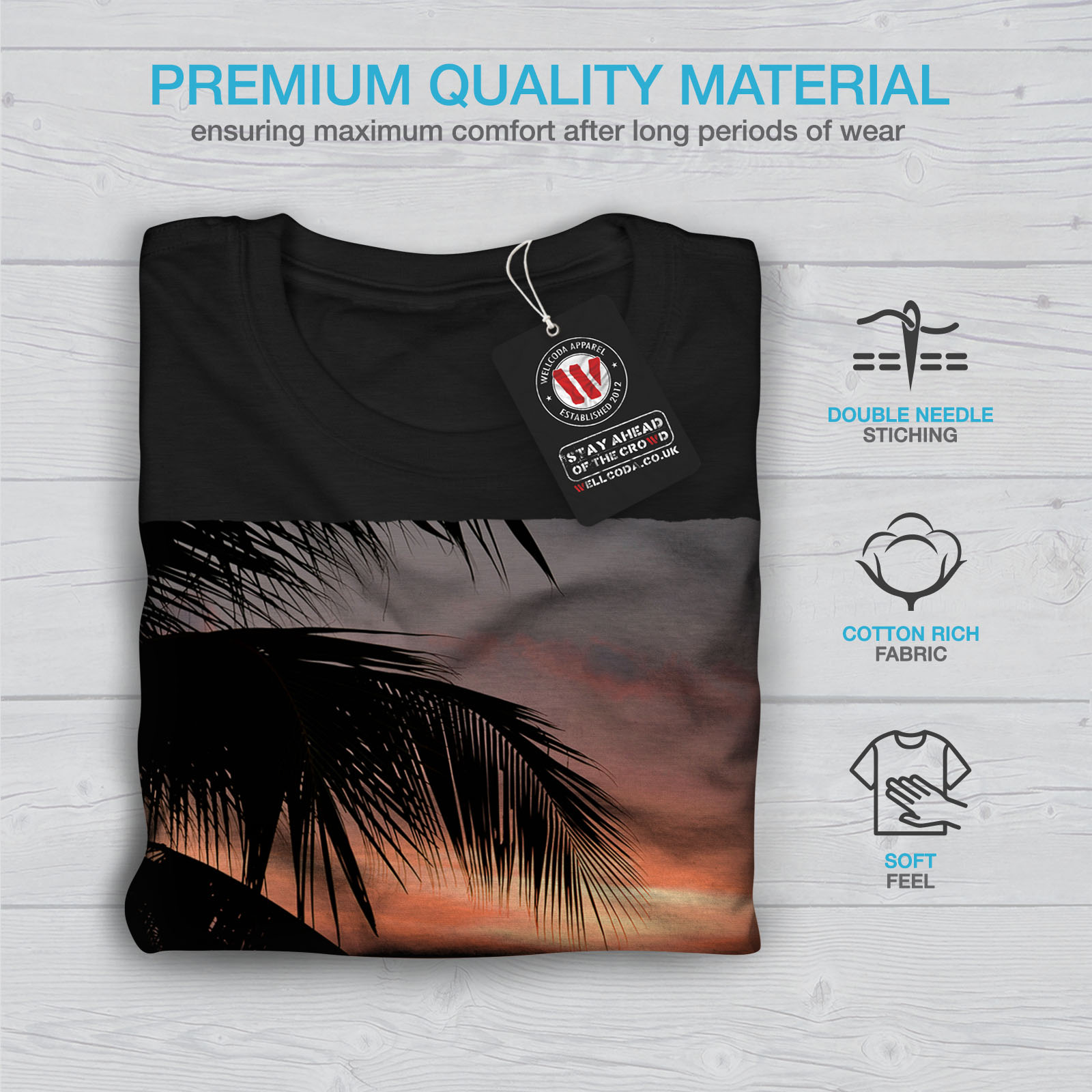 Wellcoda-Sunset-Palm-Tree-Mens-T-shirt-Ocean-Beach-Graphic-Design-Printed-Tee thumbnail 7
